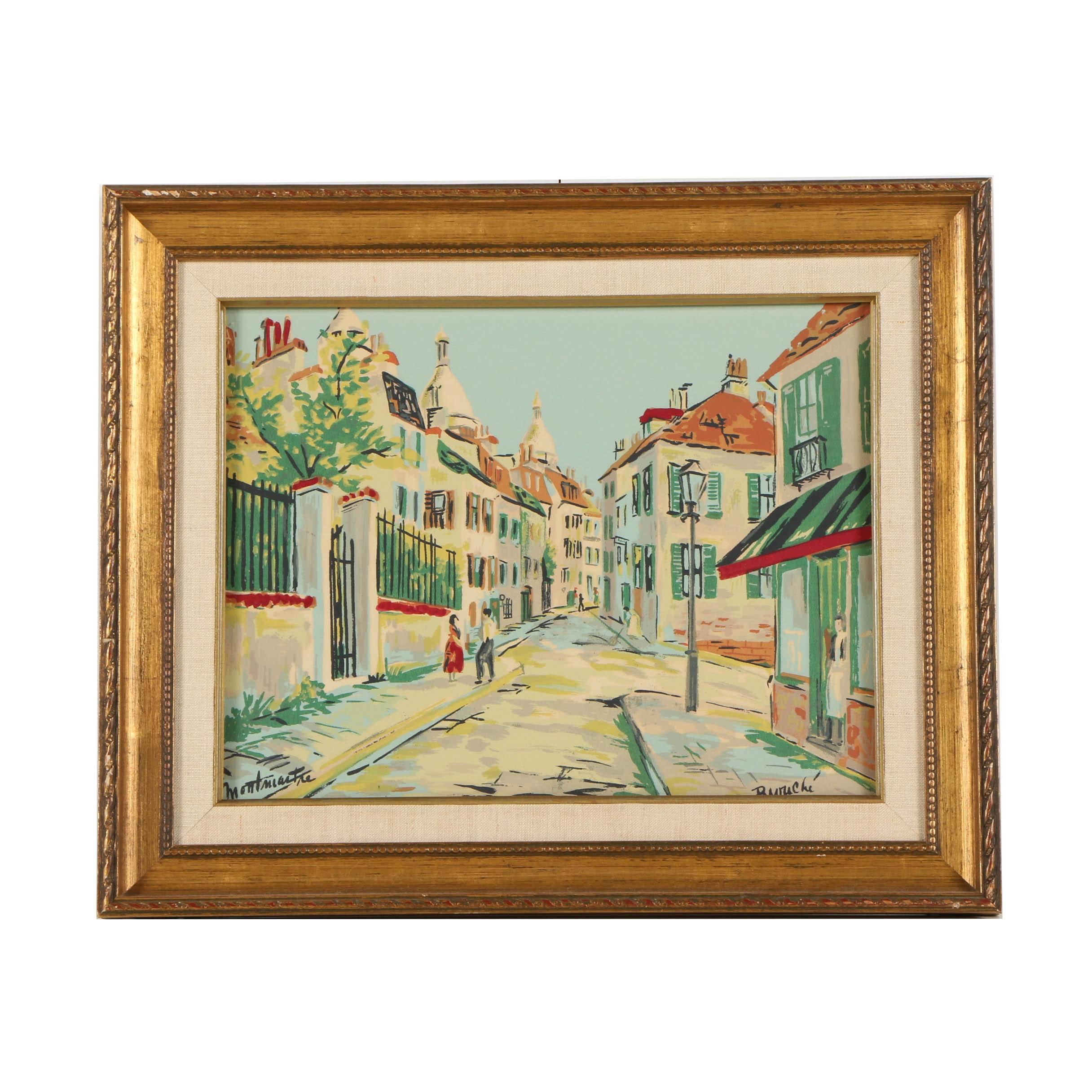 "Serigraph Print on Paper ""Montmartre"""