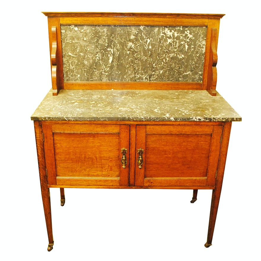 Antique English Edwardian Oak Marble Top Washstand Ebth