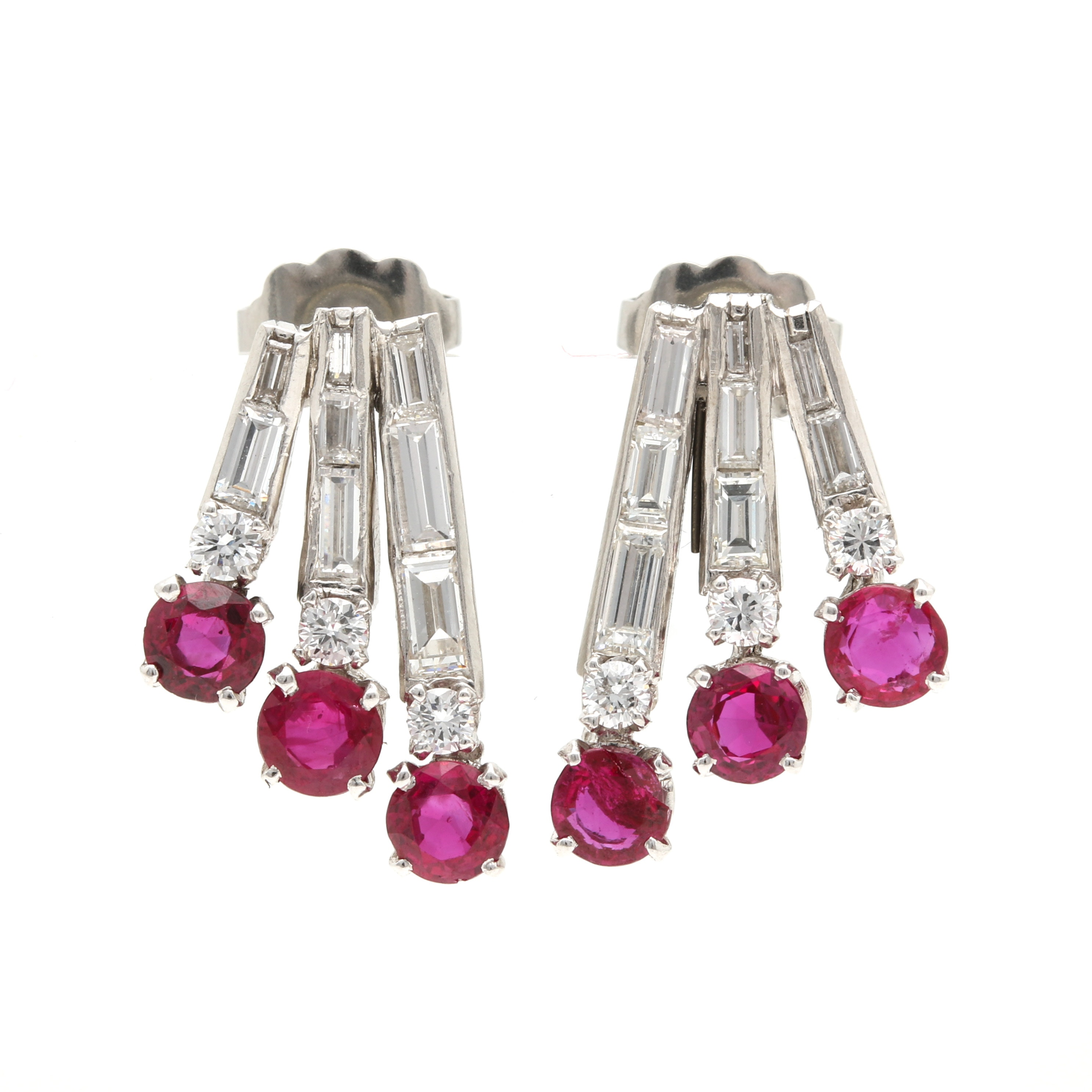 Platinum Ruby and 0.98 CTW Diamond Drop Earrings