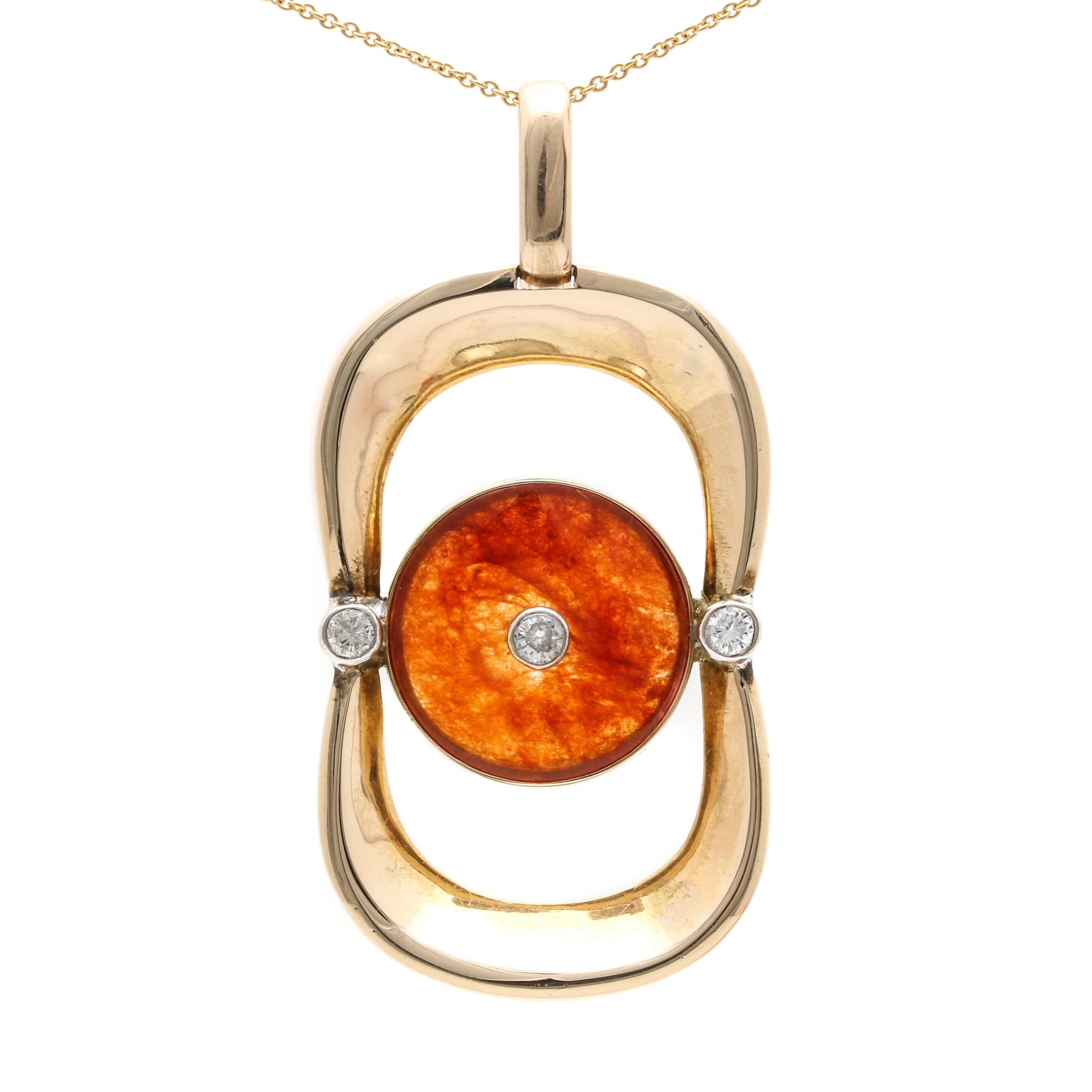 14K Yellow Gold Jadeite and Diamond Pendant Necklace