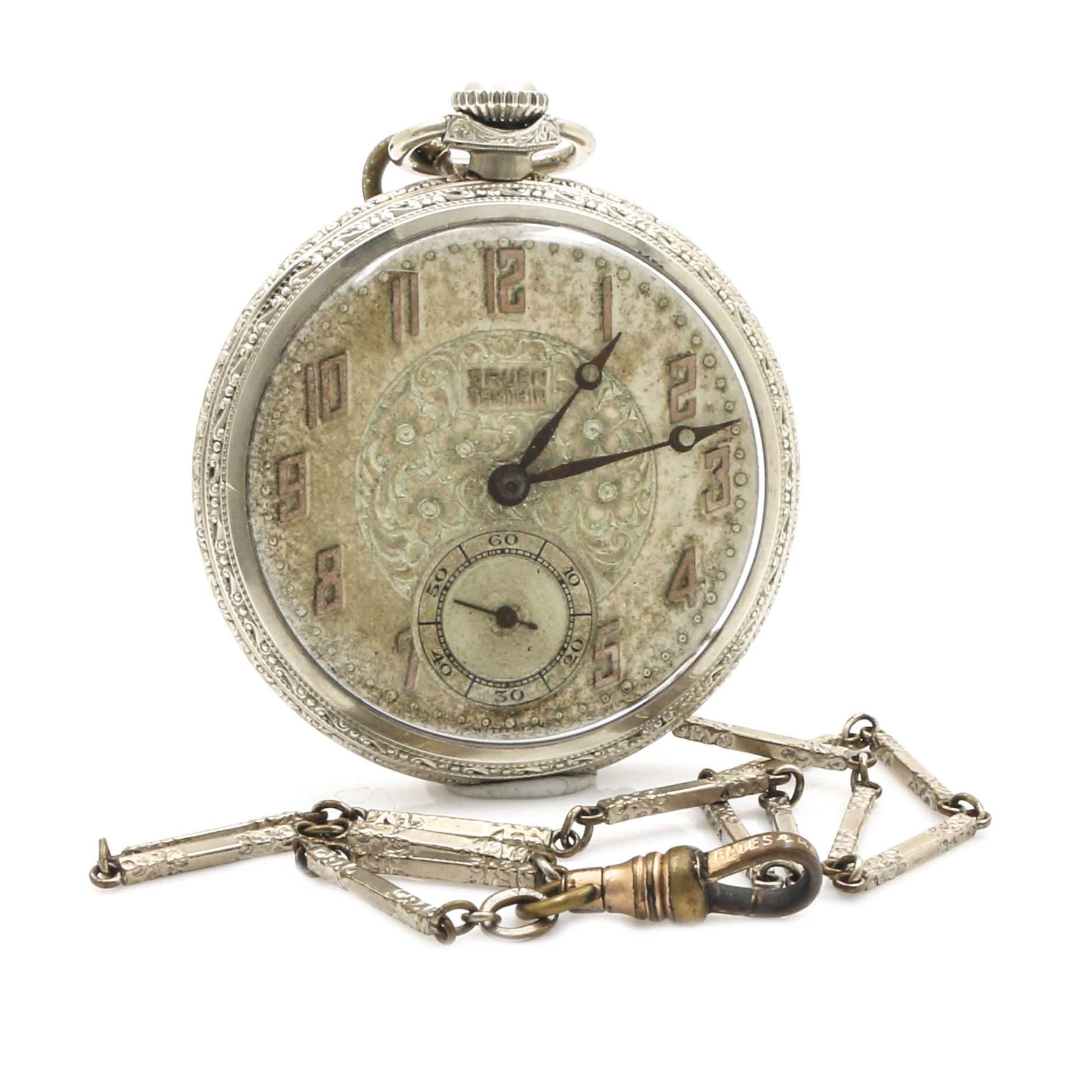 Gruen Gold Filled Semithin Pocket Watch and Fob