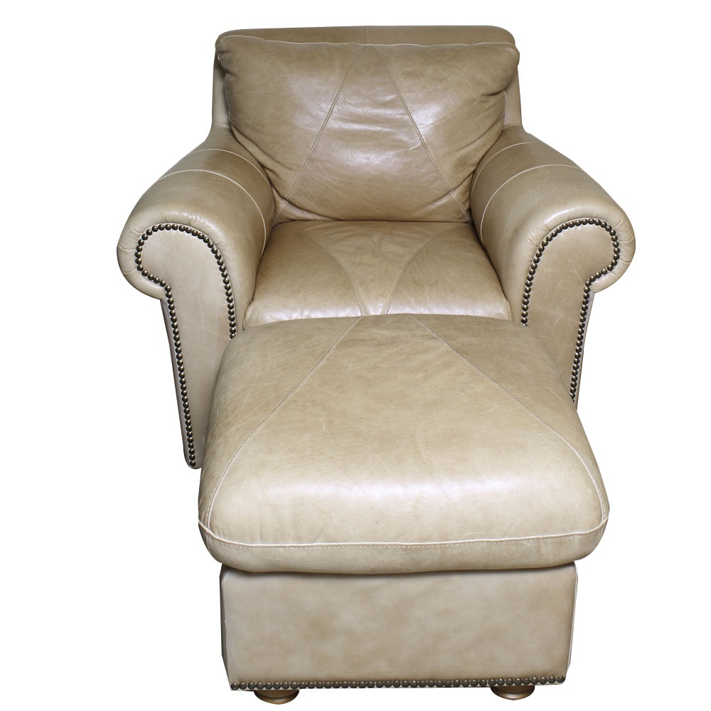 Leather Club Chair with Ottoman