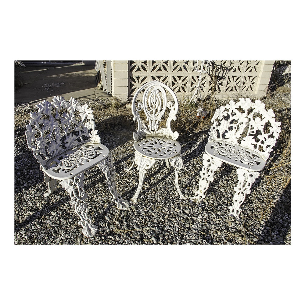 Set of Three Wrought Iron Outdoor Chairs