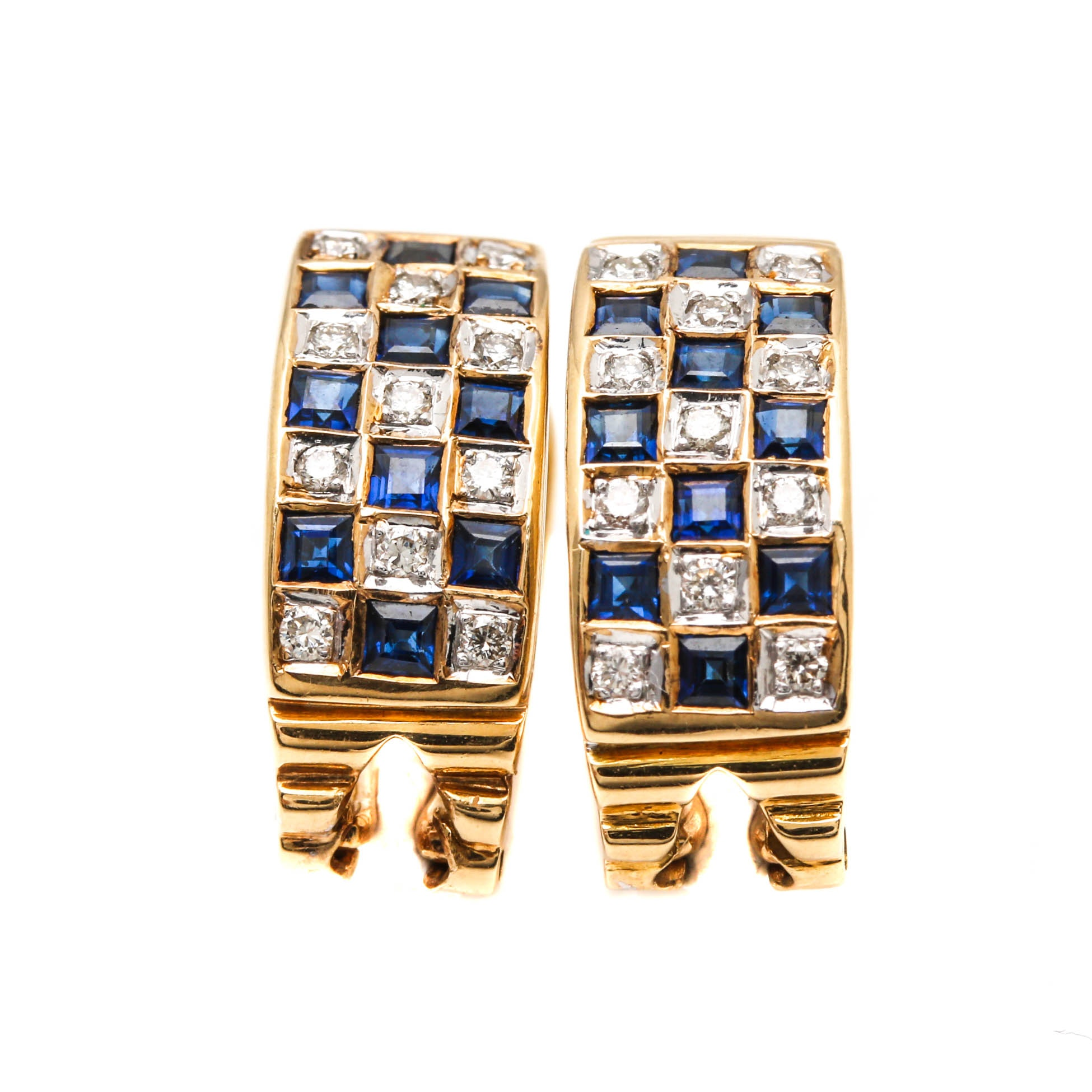 18K Yellow Gold Diamond and Sapphire Earrings