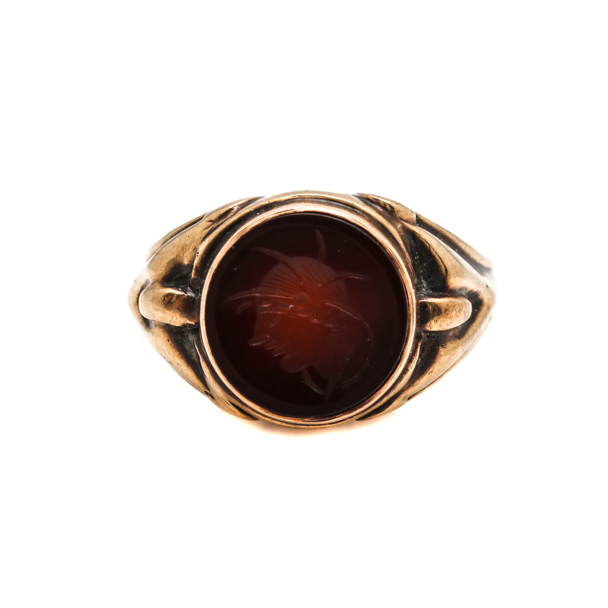 10K Yellow Gold Sard Intaglio Ring