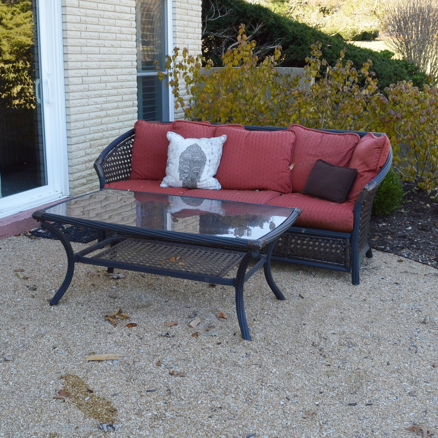 Weatherproof Wicker Outdoor Sofa With Sunbrela Cushions And Cocktail Table  ...