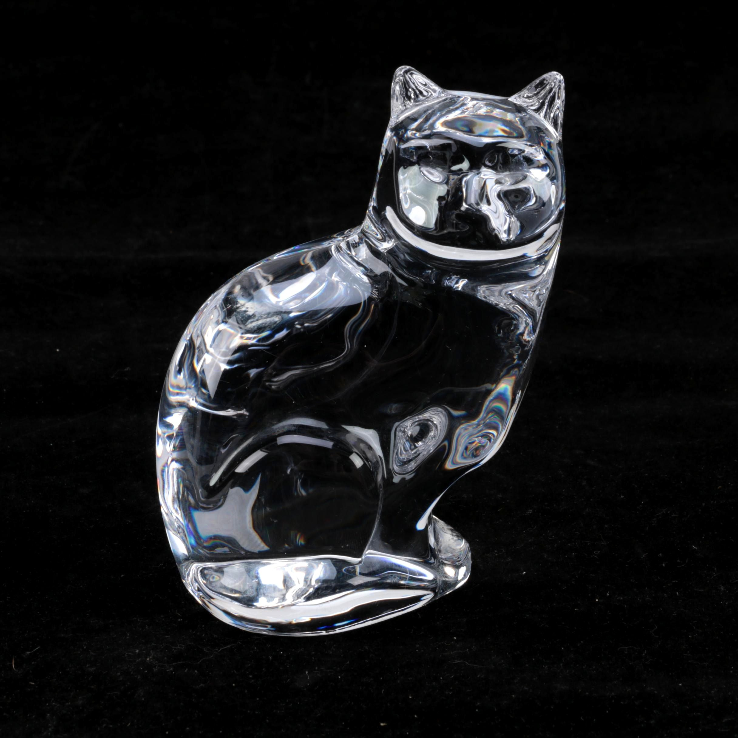 Orrefors Crystal Cat Hand Cooler