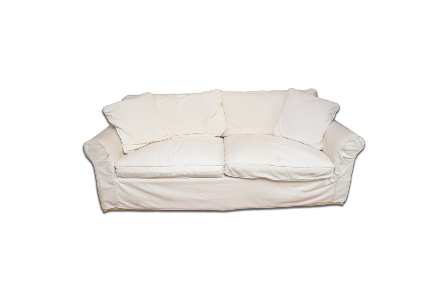 Roll Arm Slip Covered Sofa