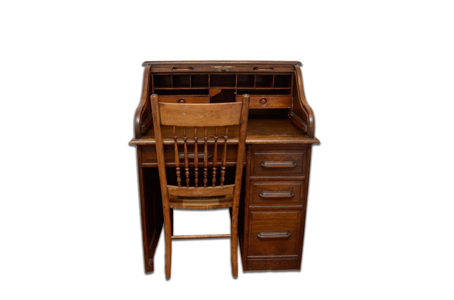 Antique Oak Dornette Roll Top Desk