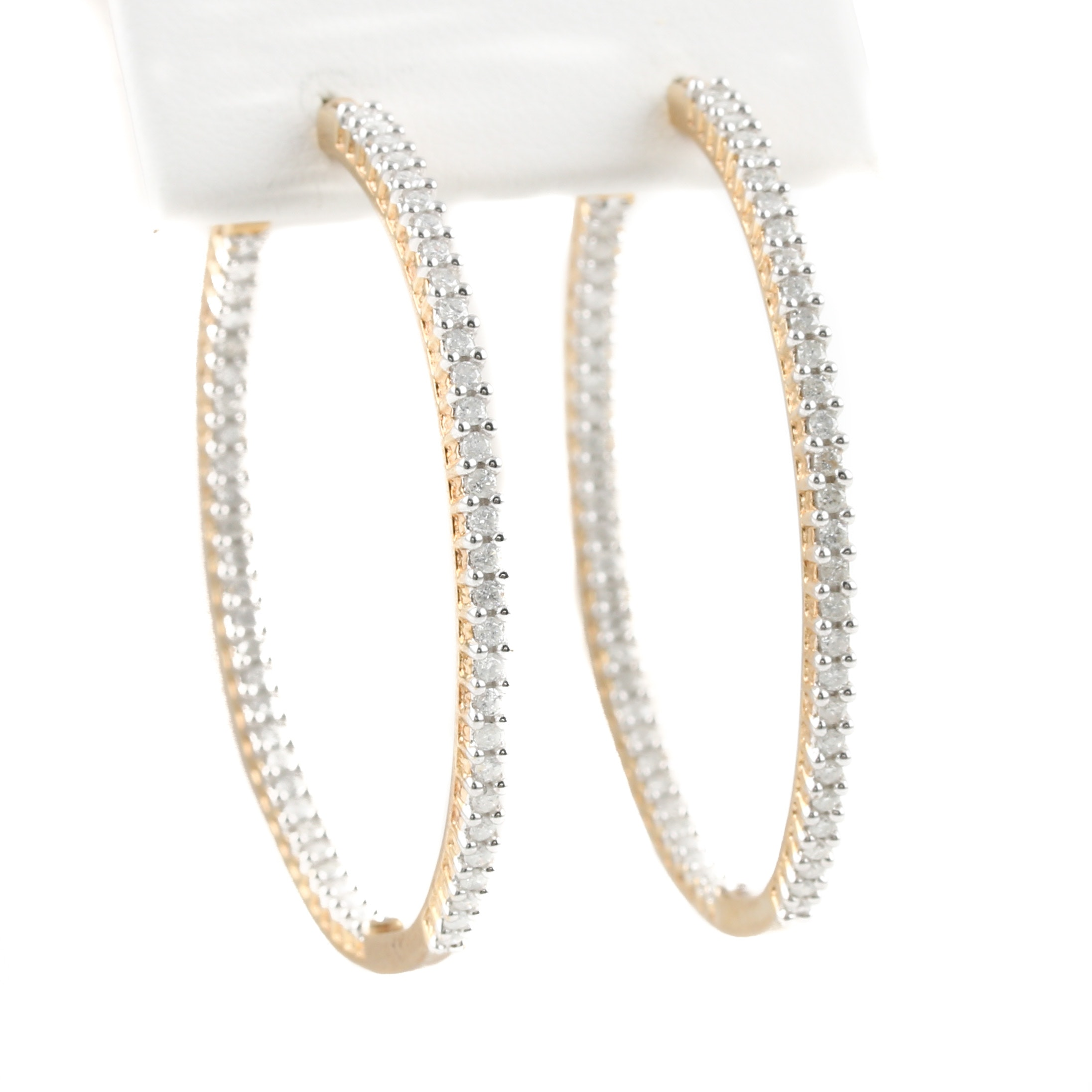 10K Yellow Gold 1.50 CTW Diamond In and Out Hoop Earrings