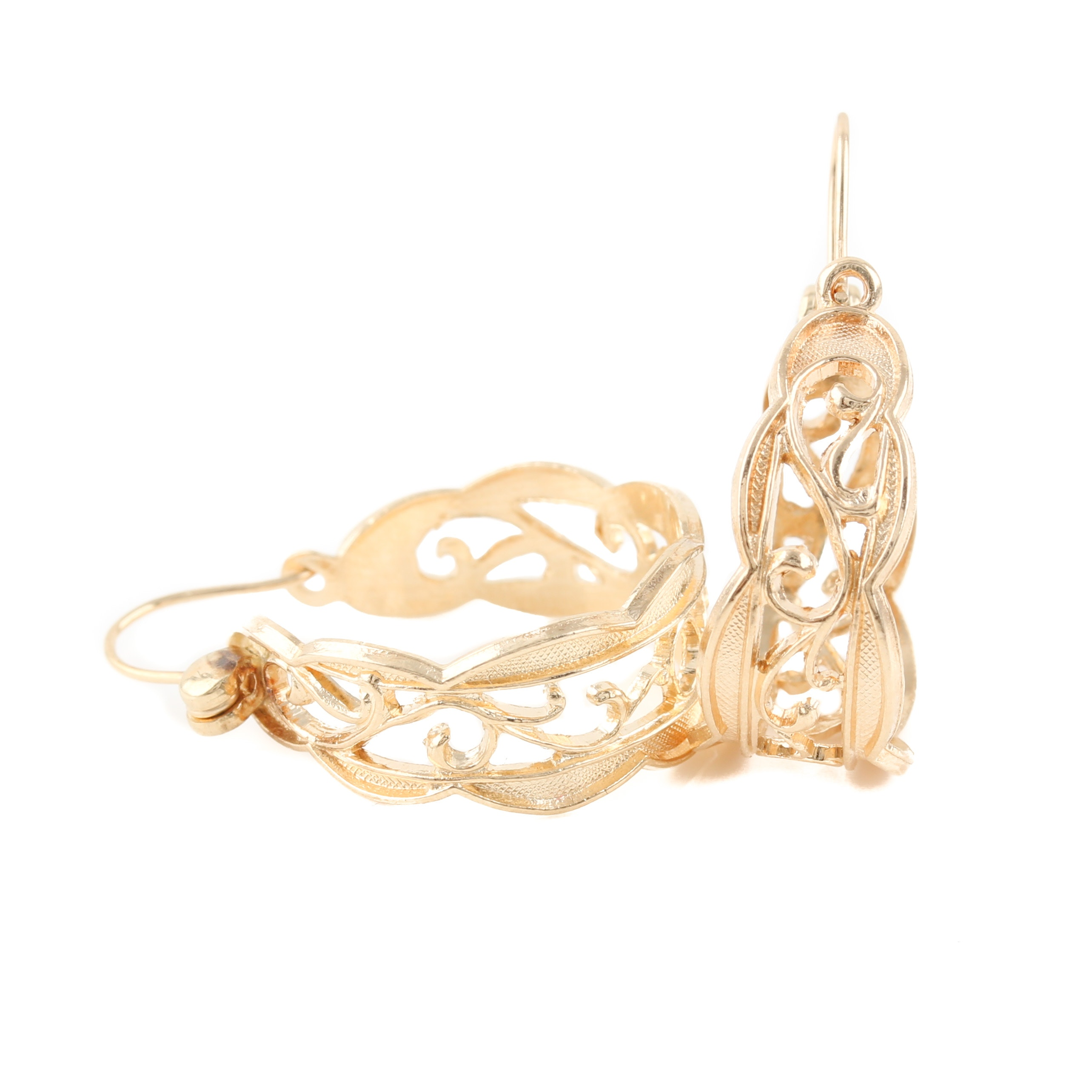 14K Yellow Gold Openwork Design Hoop Earrings
