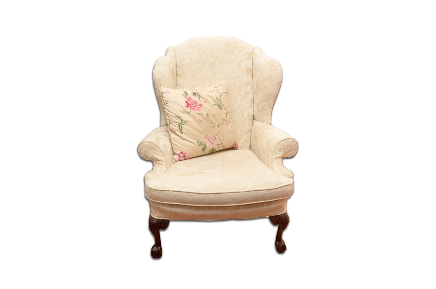 Queen Anne Style Wingback Chair by Paul Robert
