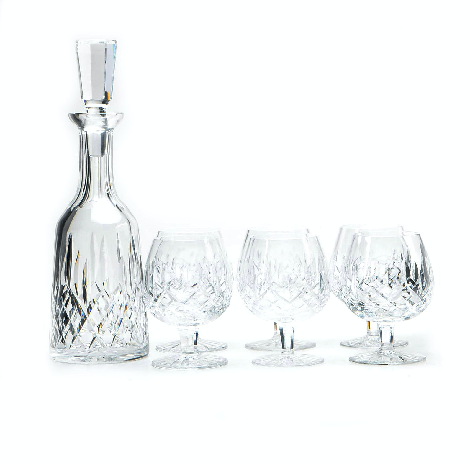 "Waterford Crystal ""Lismore"" Brandy Snifters and Decanter"