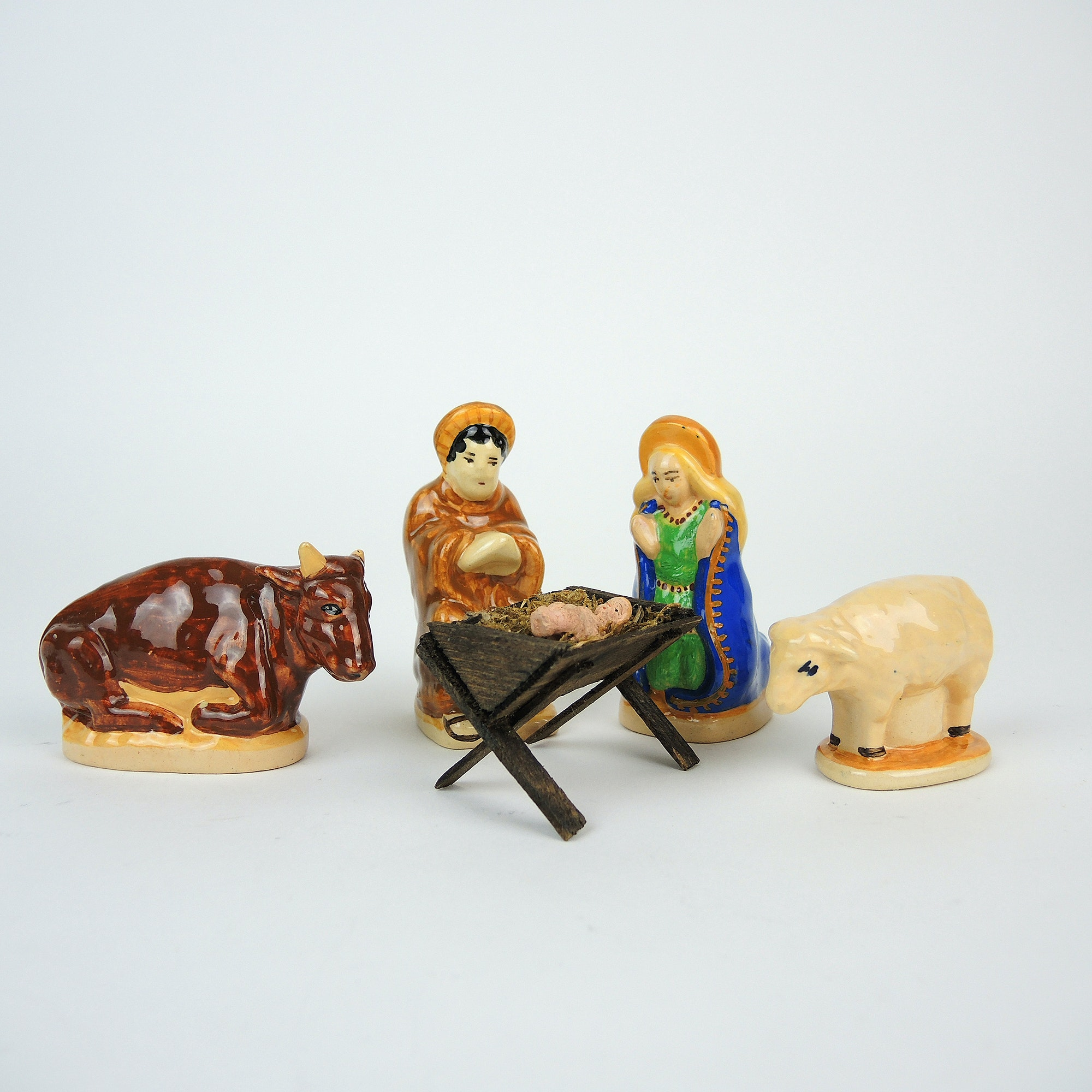 Vintage Henriot Quimper Ceramic Nativity Figurines