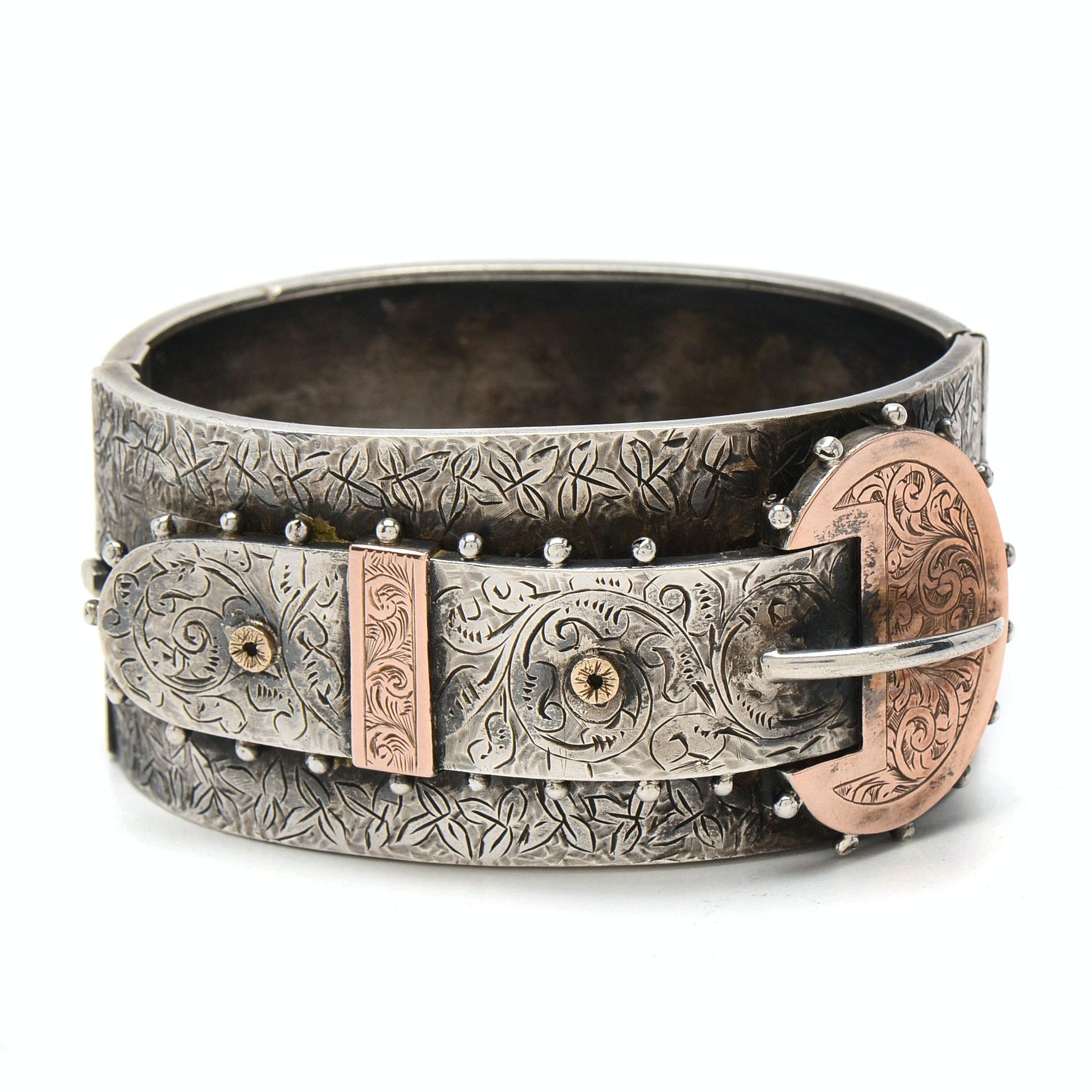 Circa 1882 English Sterling Silver Hinged Buckle Cuff