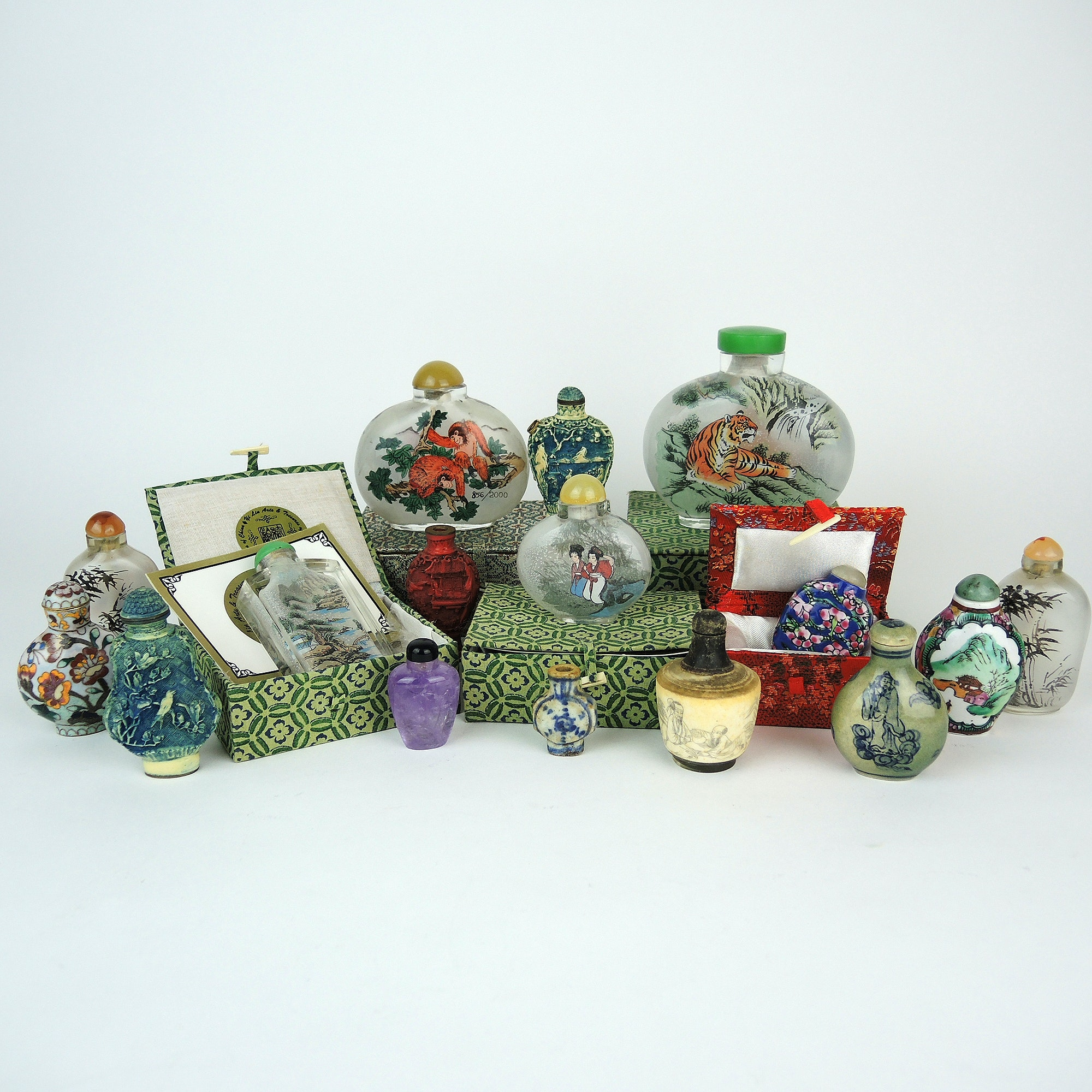 Collection of Asian Inspired Glass Perfume and Snuff Bottles