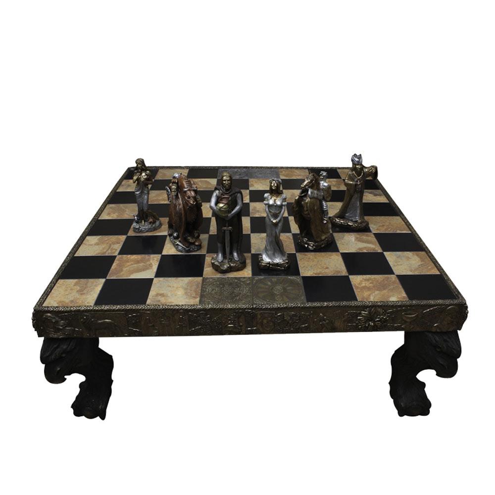 Quite Rare Partial  The Arthurian Chess Set  and Table by Daved Pritchard ...  sc 1 st  EBTH.com & Quite Rare Partial