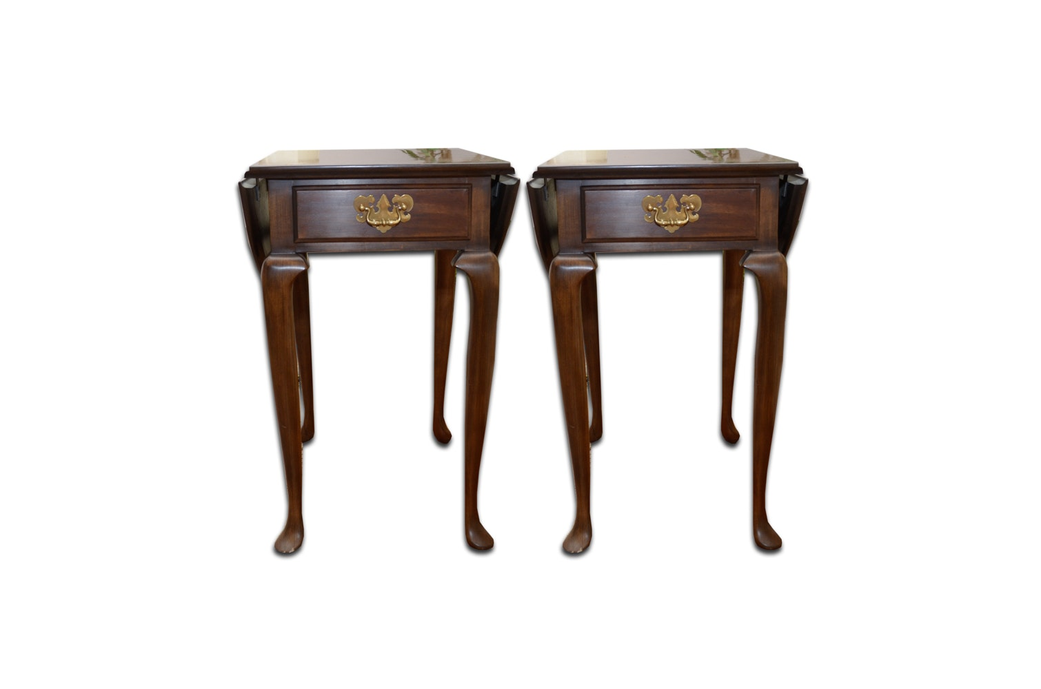 Pair of Queen Anne Style Drop Leaf End Tables by Harden