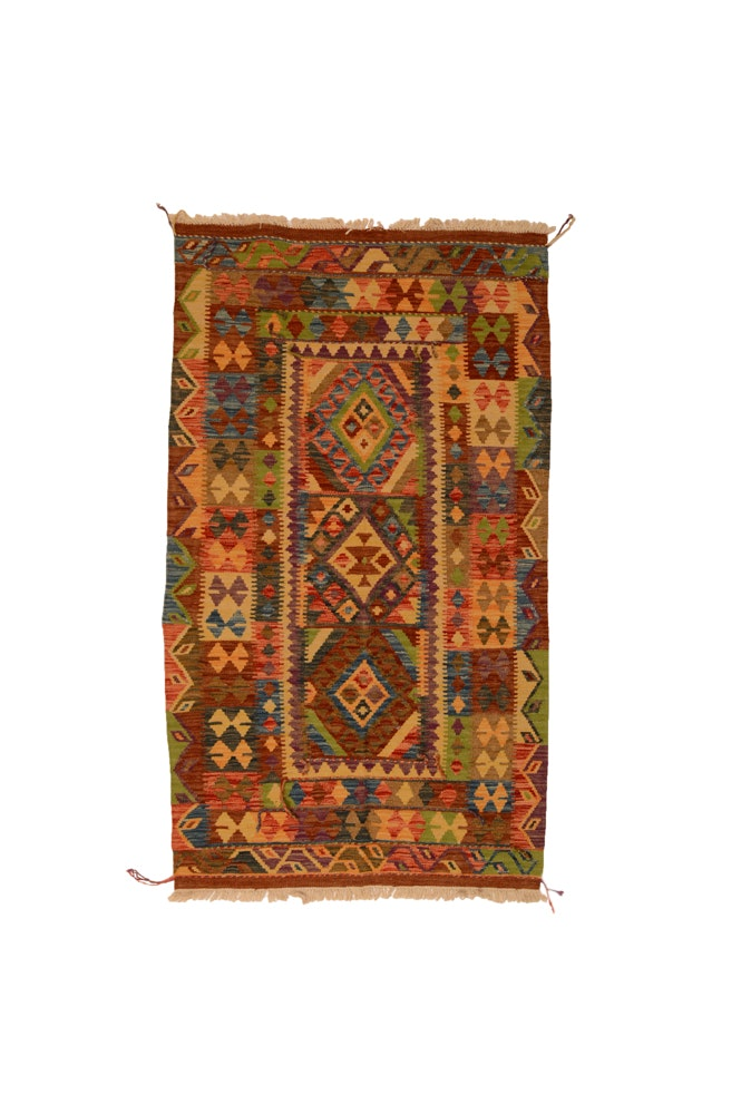 Handwoven Turkish Kilim Wool Accent Rug