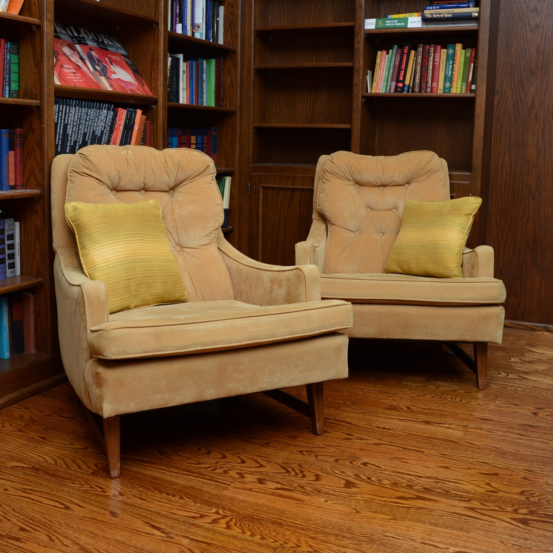 Pair of Suede Upholstered Mid Century Modern Chairs