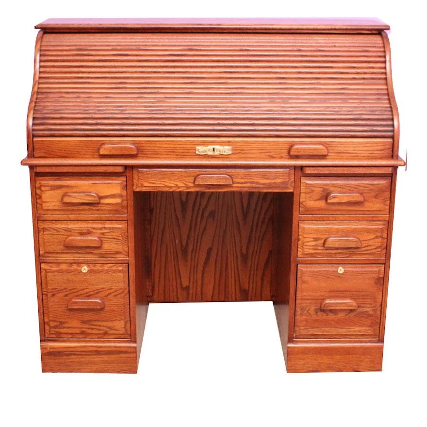 Winners Only Inc Solid Oak Roll Top Desk Ebth