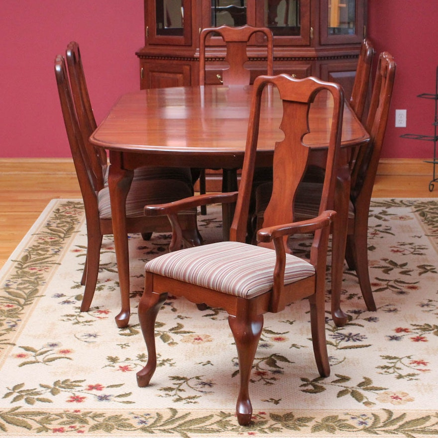 queen anne style cherry dining table and chairs by berlin. Black Bedroom Furniture Sets. Home Design Ideas