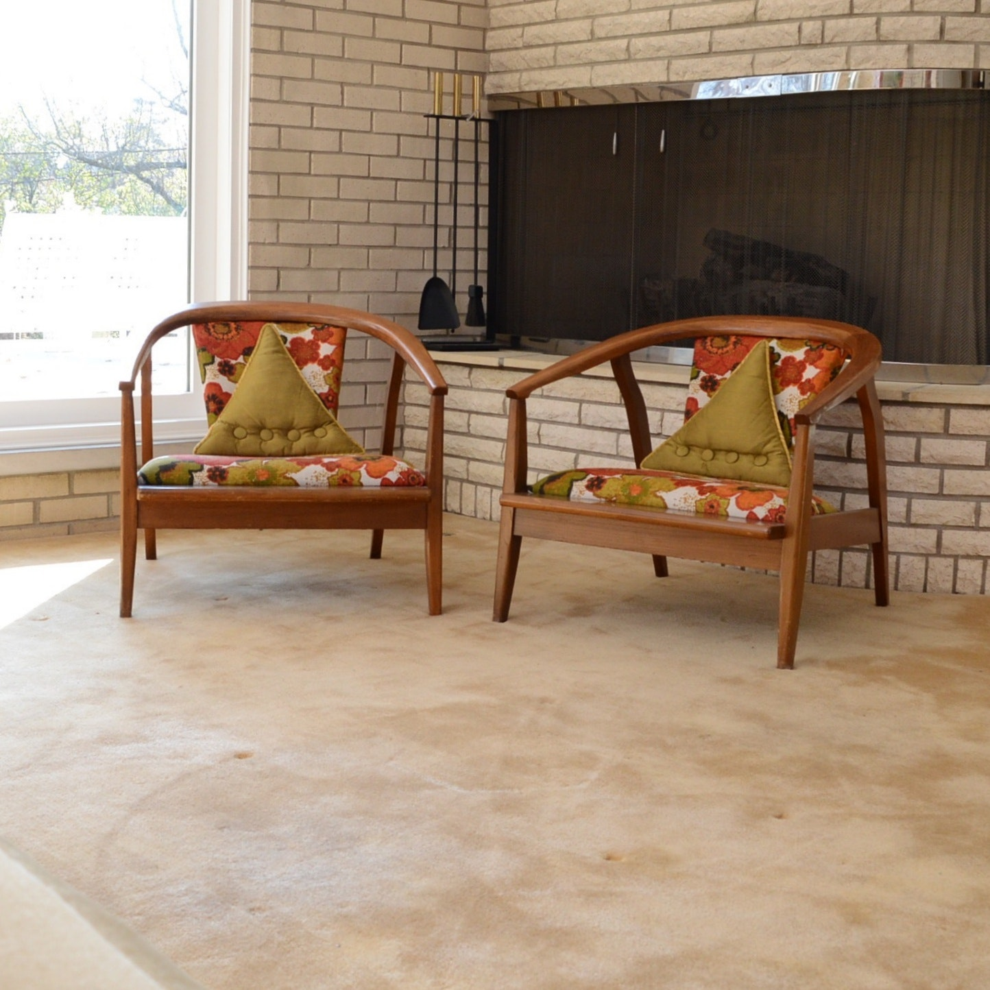 Mid Century Modern Chairs with Teak Wood Frames