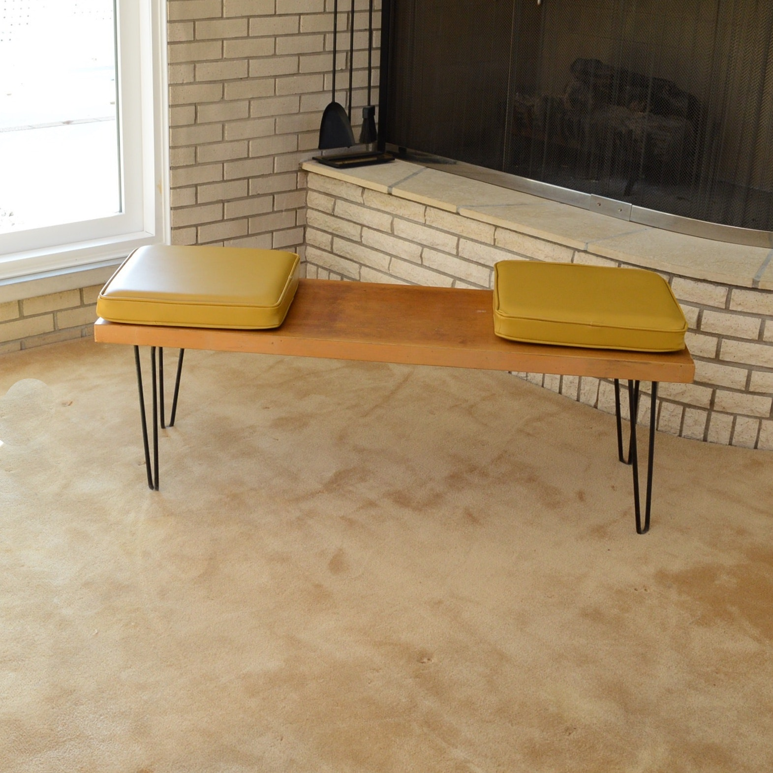 Mid Century Modern Olsen Style Benches with Vinyl Cushions