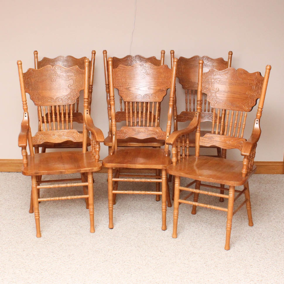 Six Vintage Oak Dining Room Chairs