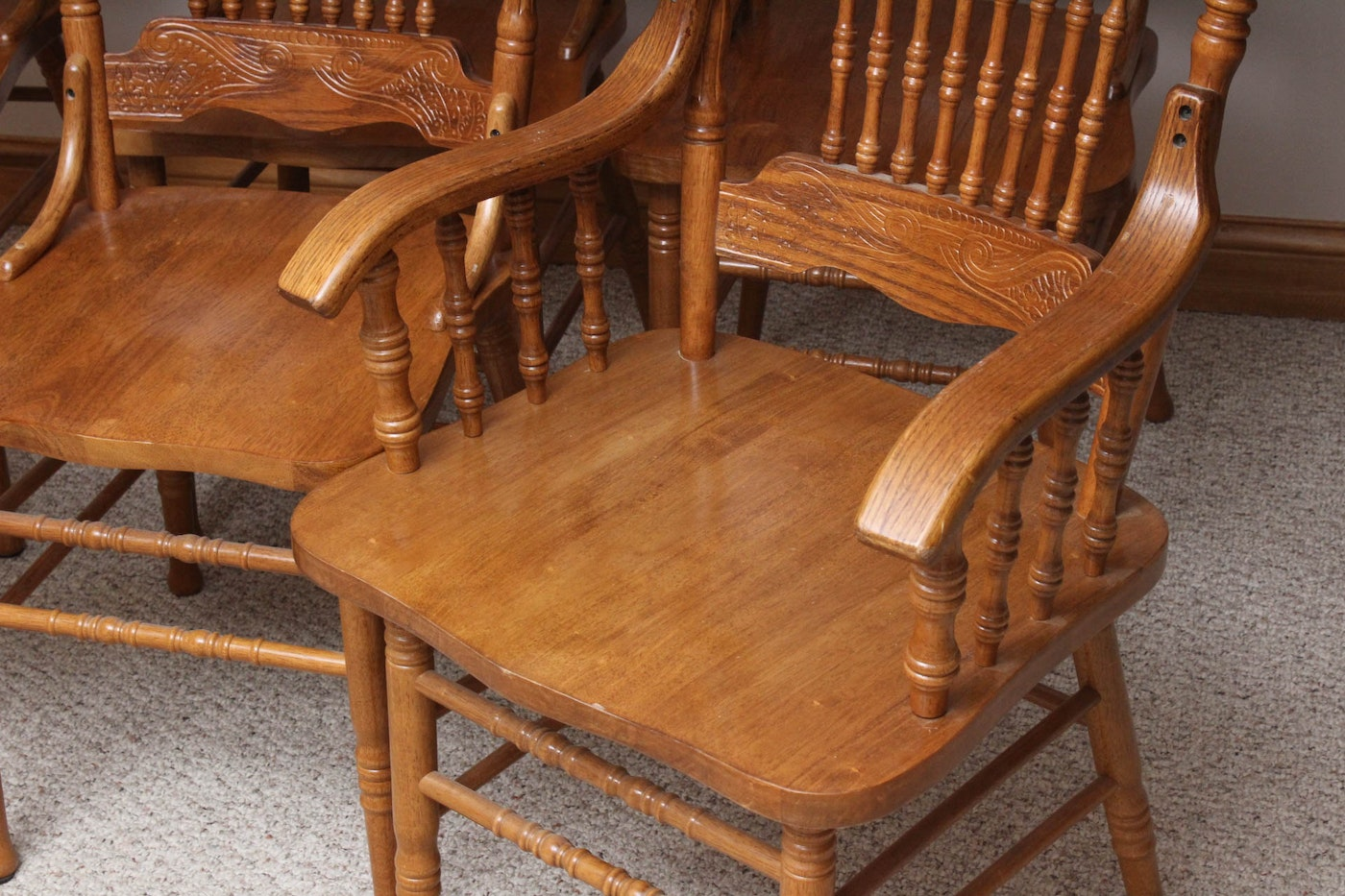 Six vintage oak dining room chairs ebth for Oak dining room chairs