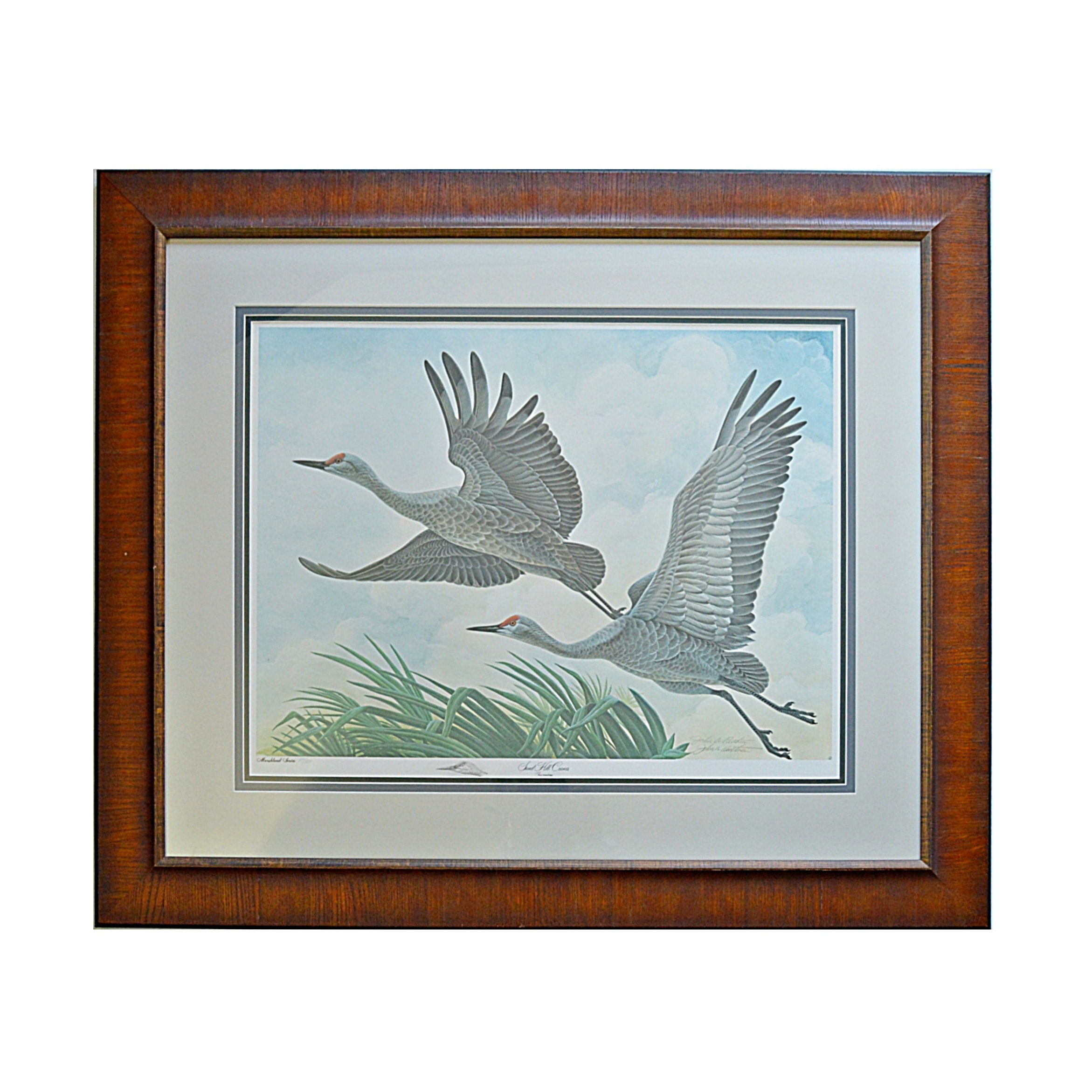 "John Ruthven Signed Limited Edition Offset Lithograph ""Sand Hill Cranes"""