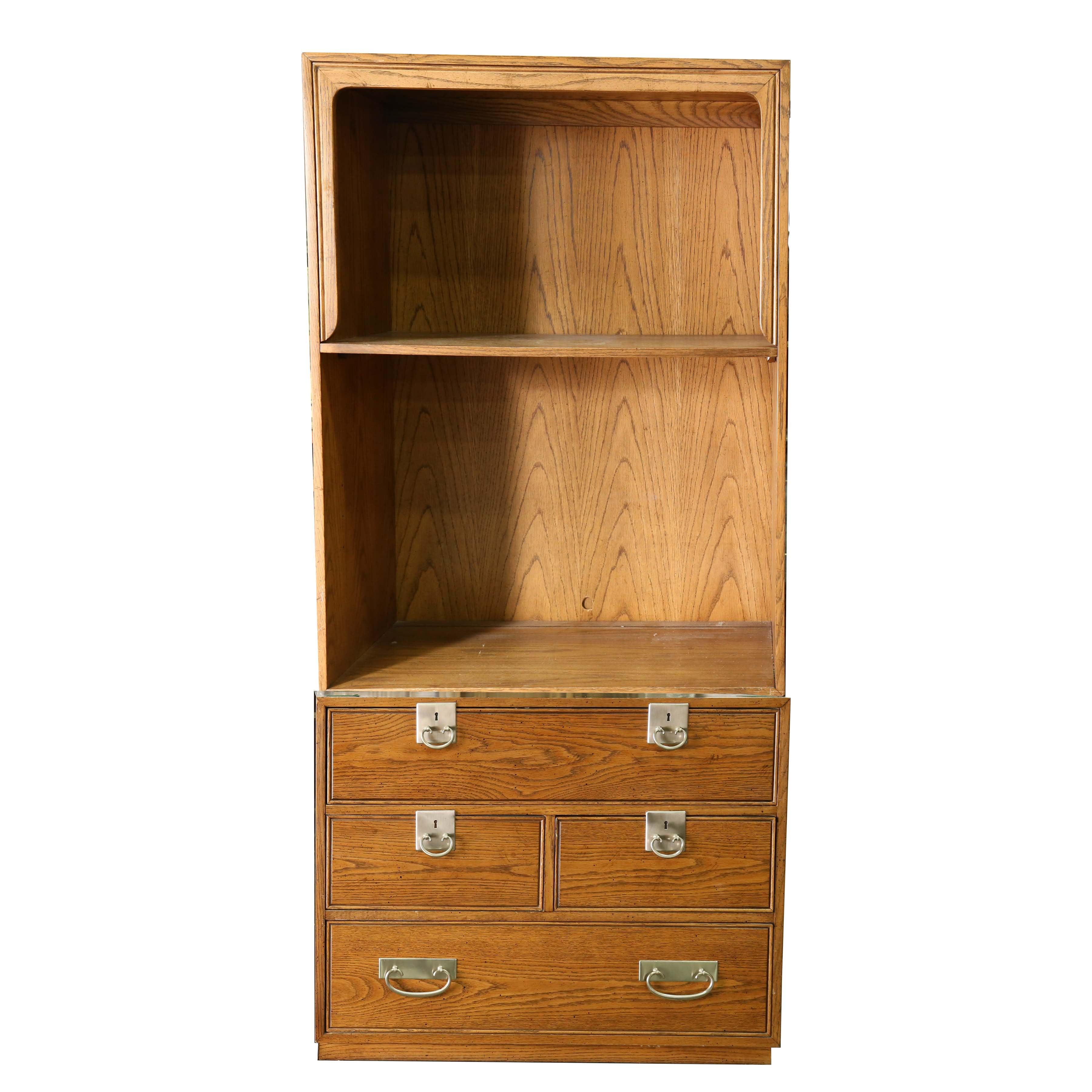 midcentury oak bookshelf with drawers by founders