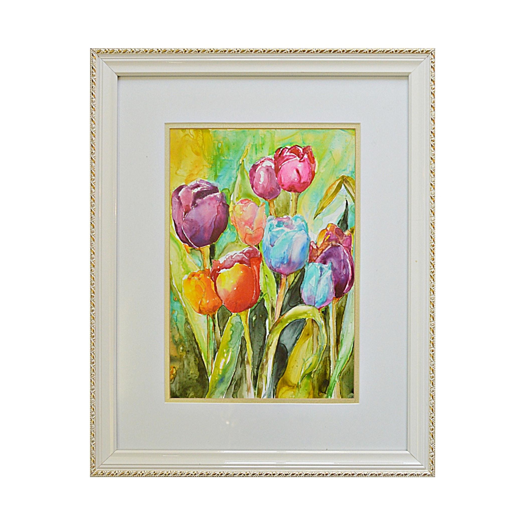 Joan Miley Original Watercolor on Paper of Tulips