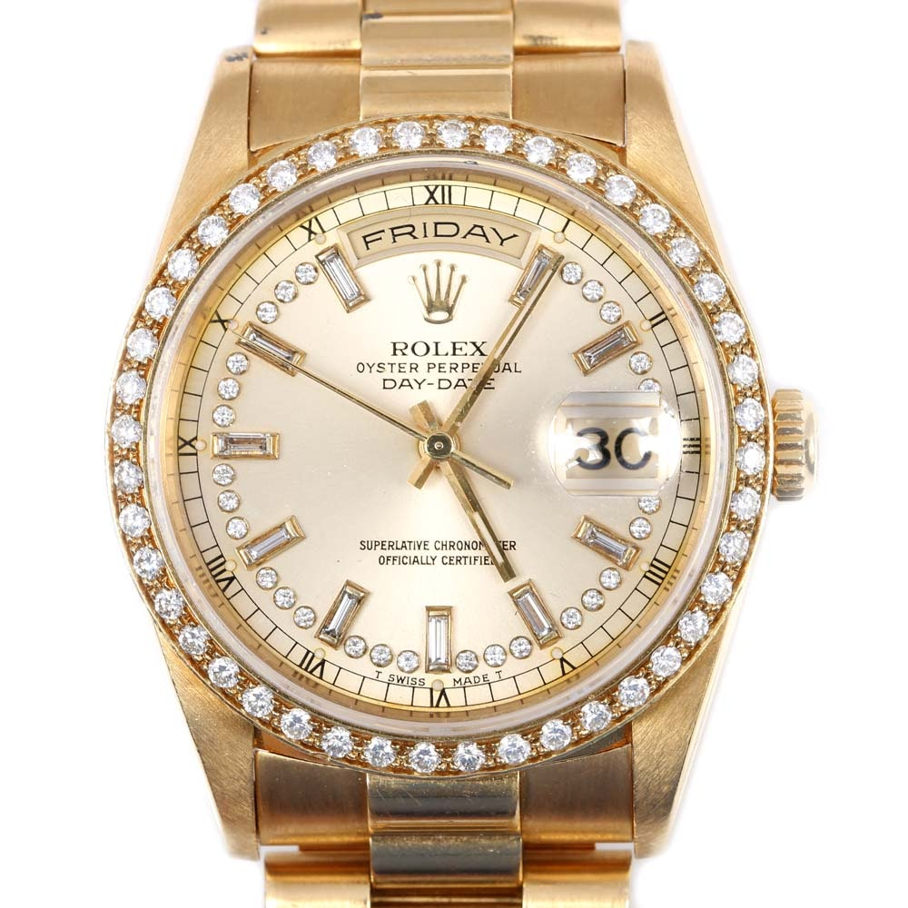 Rolex Oyster Perpetual Day-Date 18K Yellow Gold 1.32 CTW Diamond Wristwatch