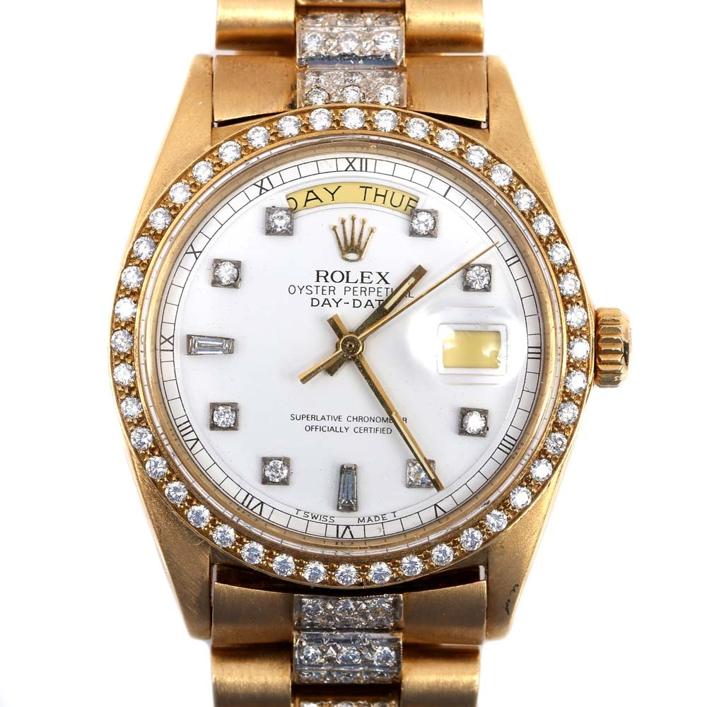 Rolex Oyster Perpetual Day-Date 18K Yellow Gold 4.37 CTW Diamond Wristwatch