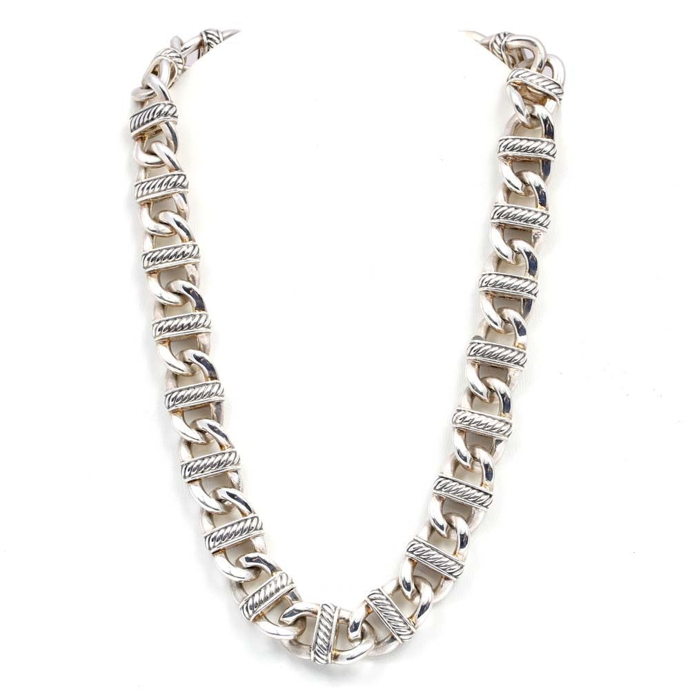 David Yurman Sterling Silver Open Cable Link Necklace