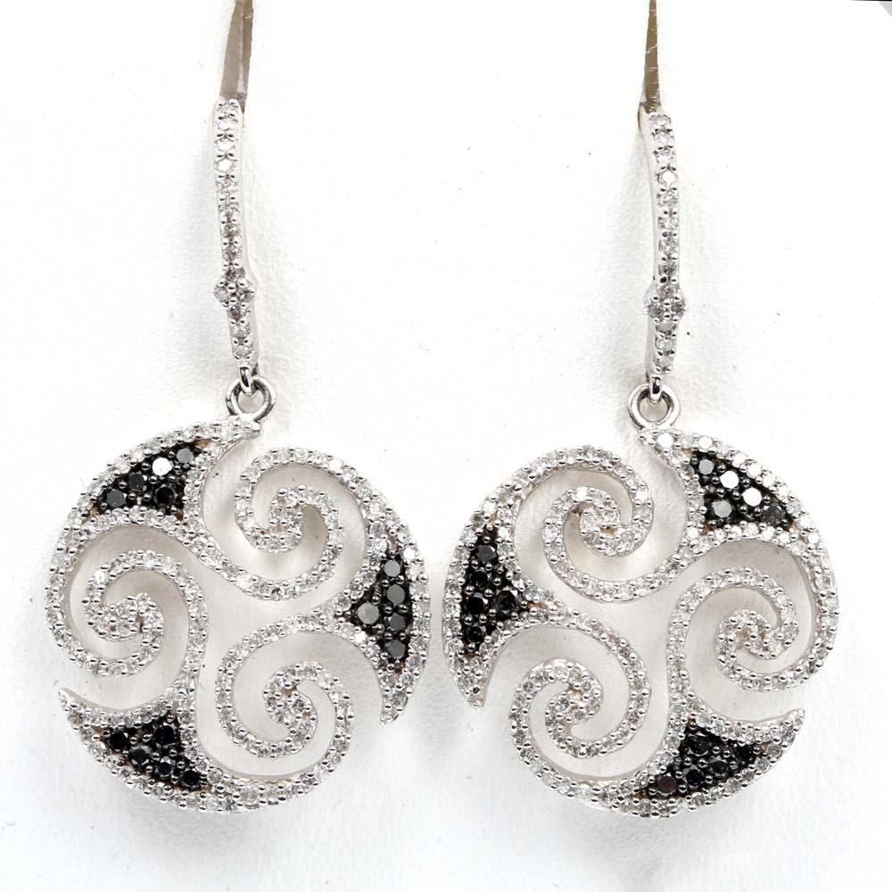 EFFY 14K White Gold Swirled Diamond and Black Diamond Dangle Earrings