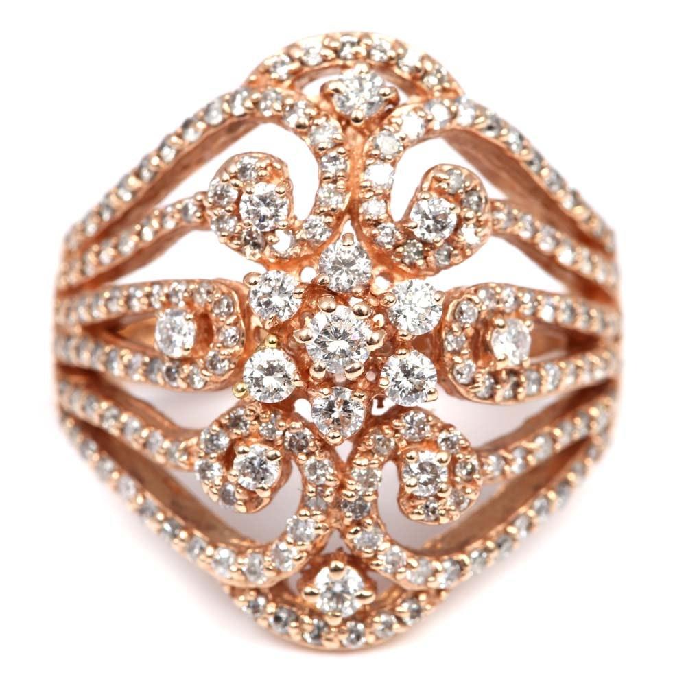EFFY 14K Rose Gold Diamond Swirl Ring