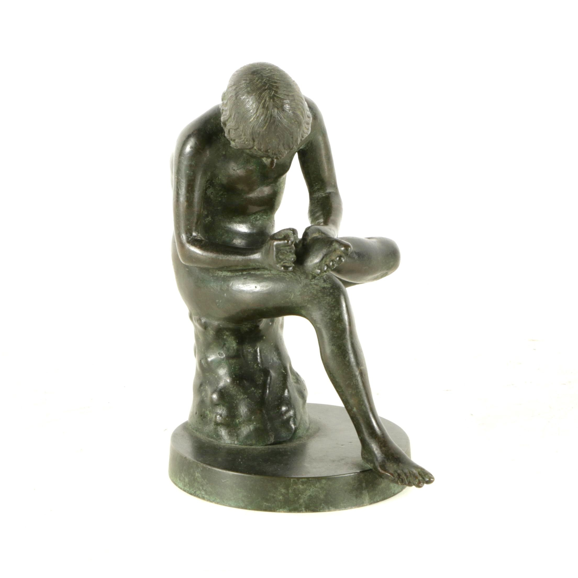 "Vintage Reproduction Brass Sculpture of ""Boy With Thorn"""