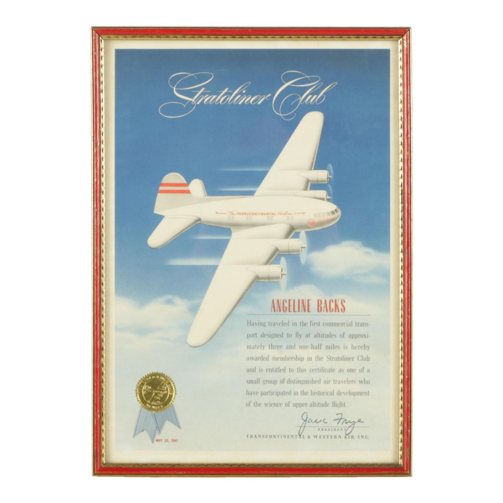 """1941 Offset Lithograph """"Stratoliner Club"""" Certificate"""