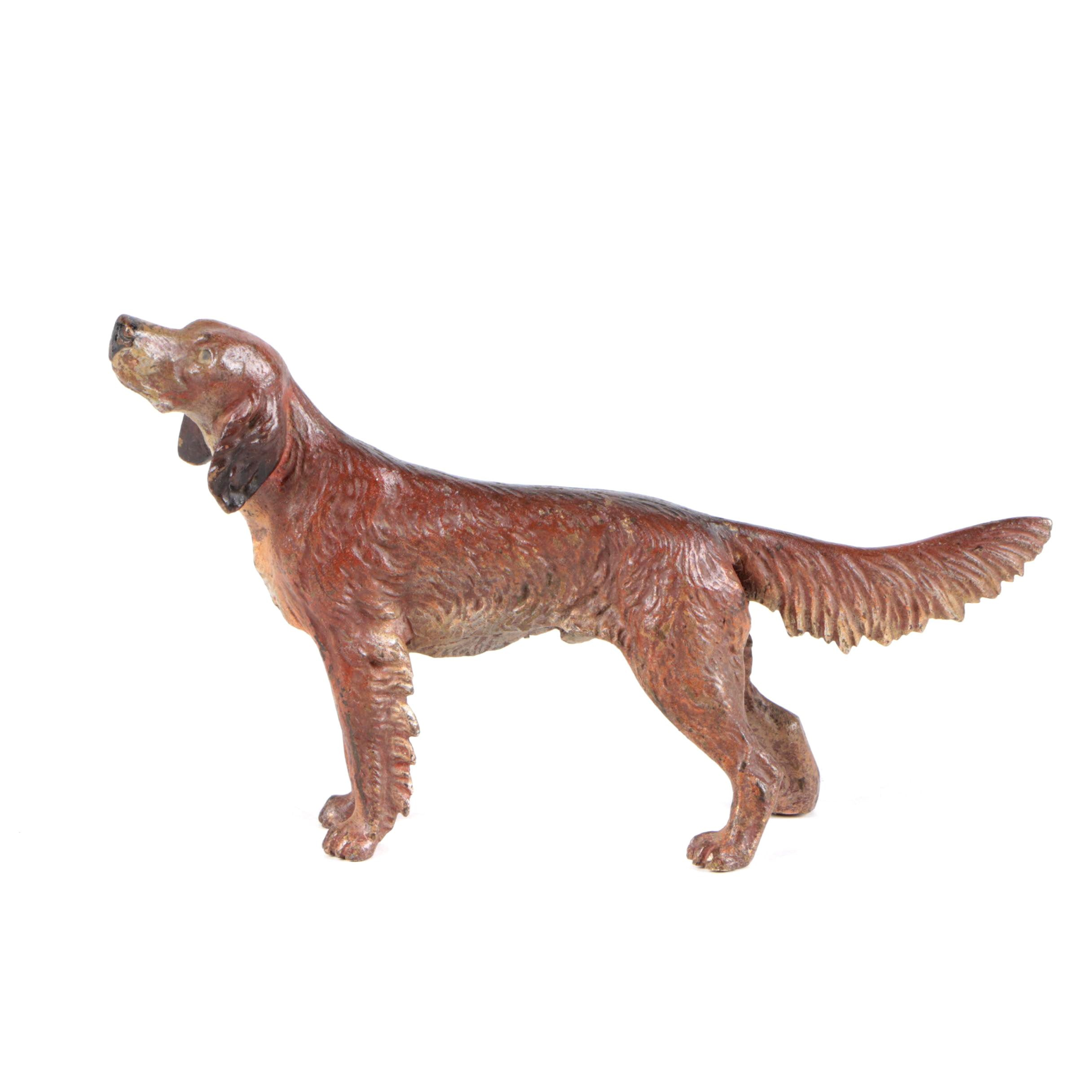 Vintage Cast Brass Alloy Irish Setter Figurine