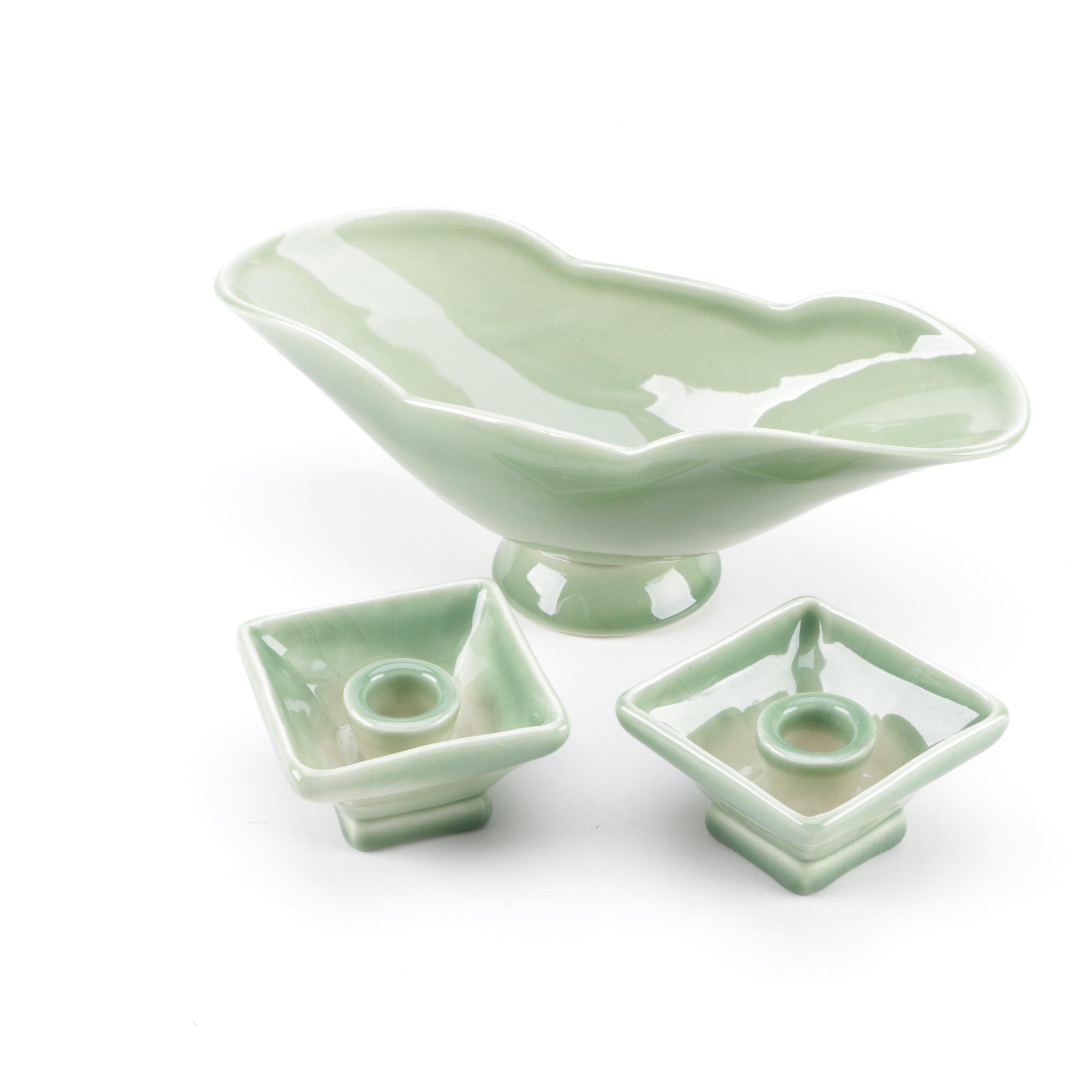 Green 1949 Rookwood Pottery Centerpiece Set #6826