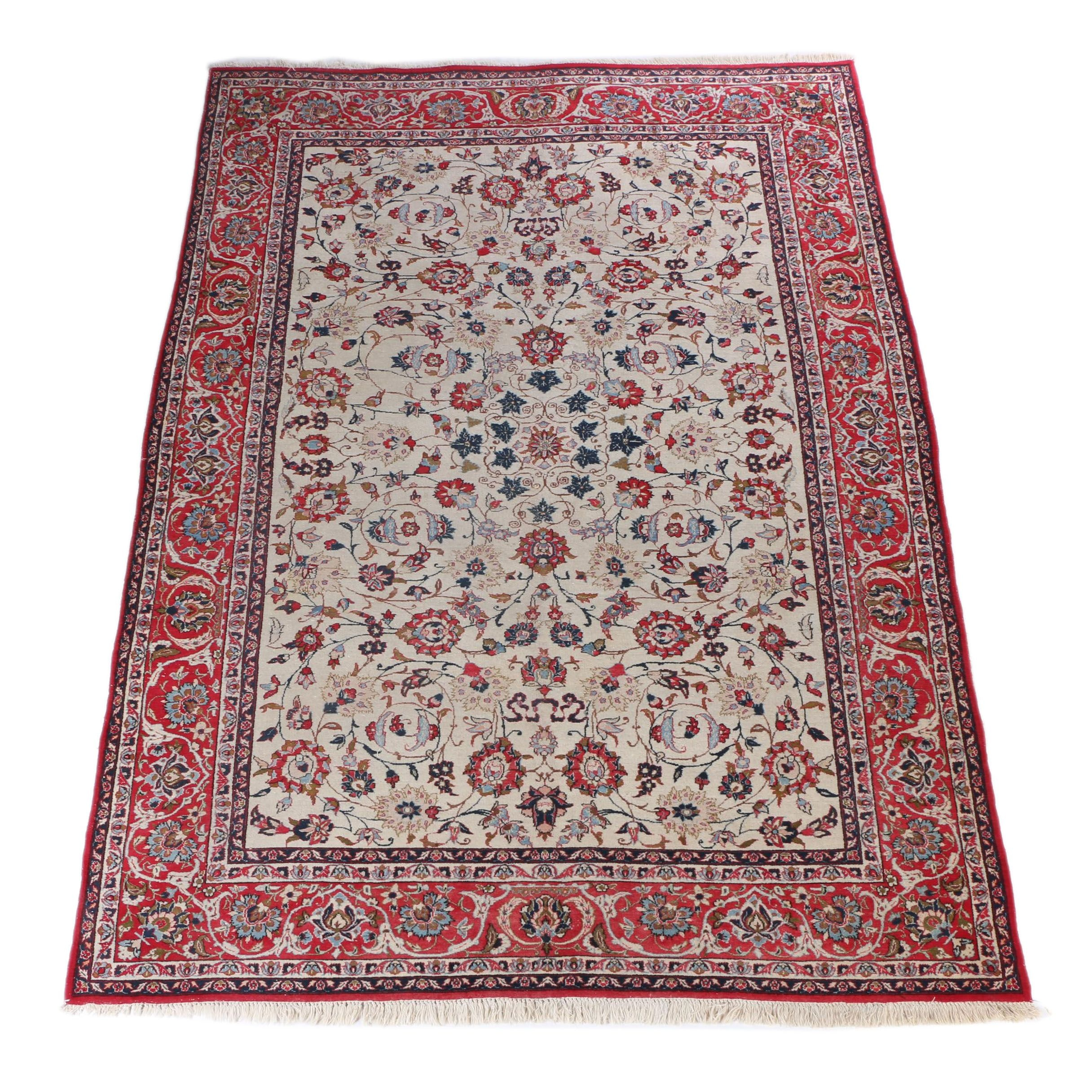 Hand-Knotted Isfahan Wool Area Rug