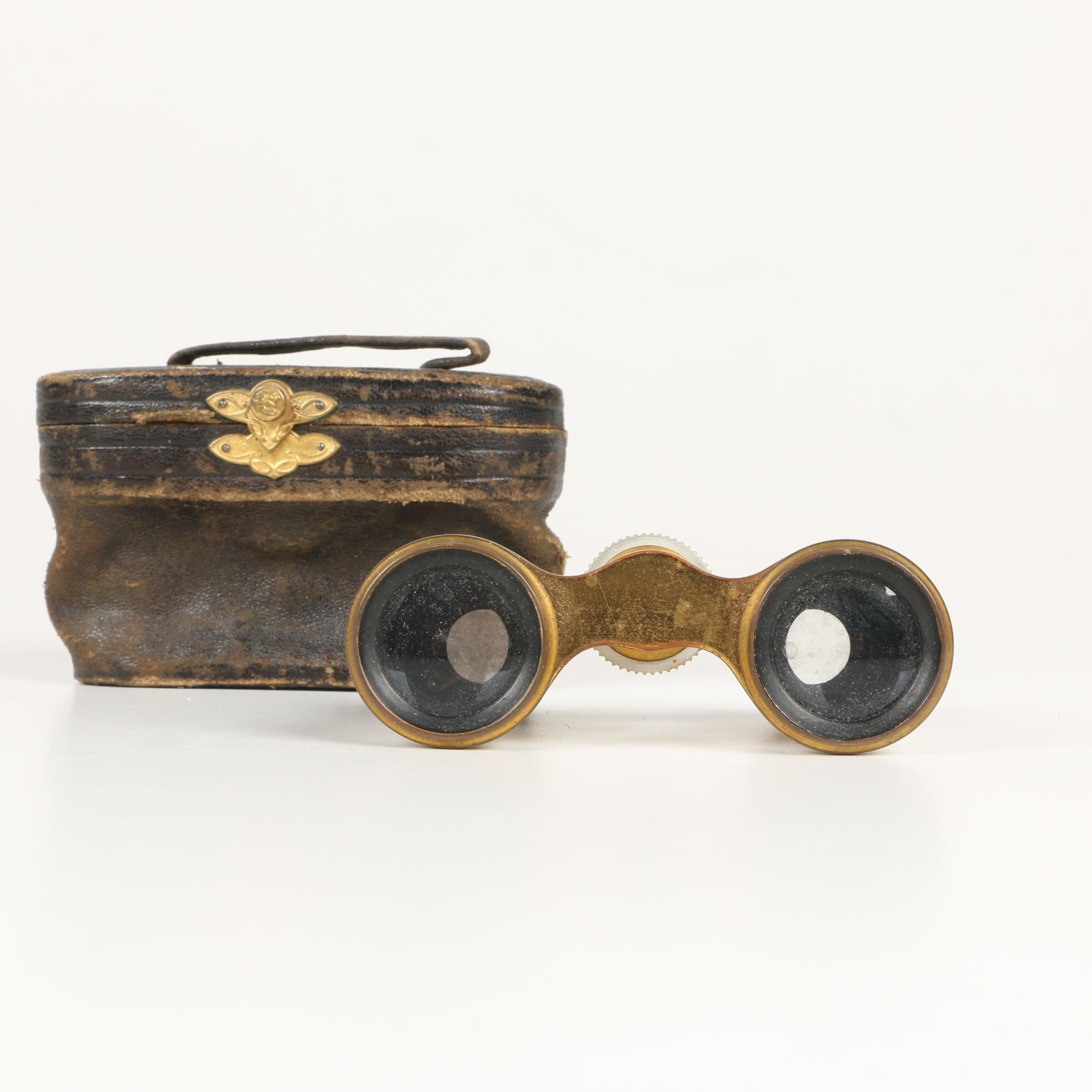 Antique Parisian Lemaire Fabt Mother of Pearl Opera Binoculars
