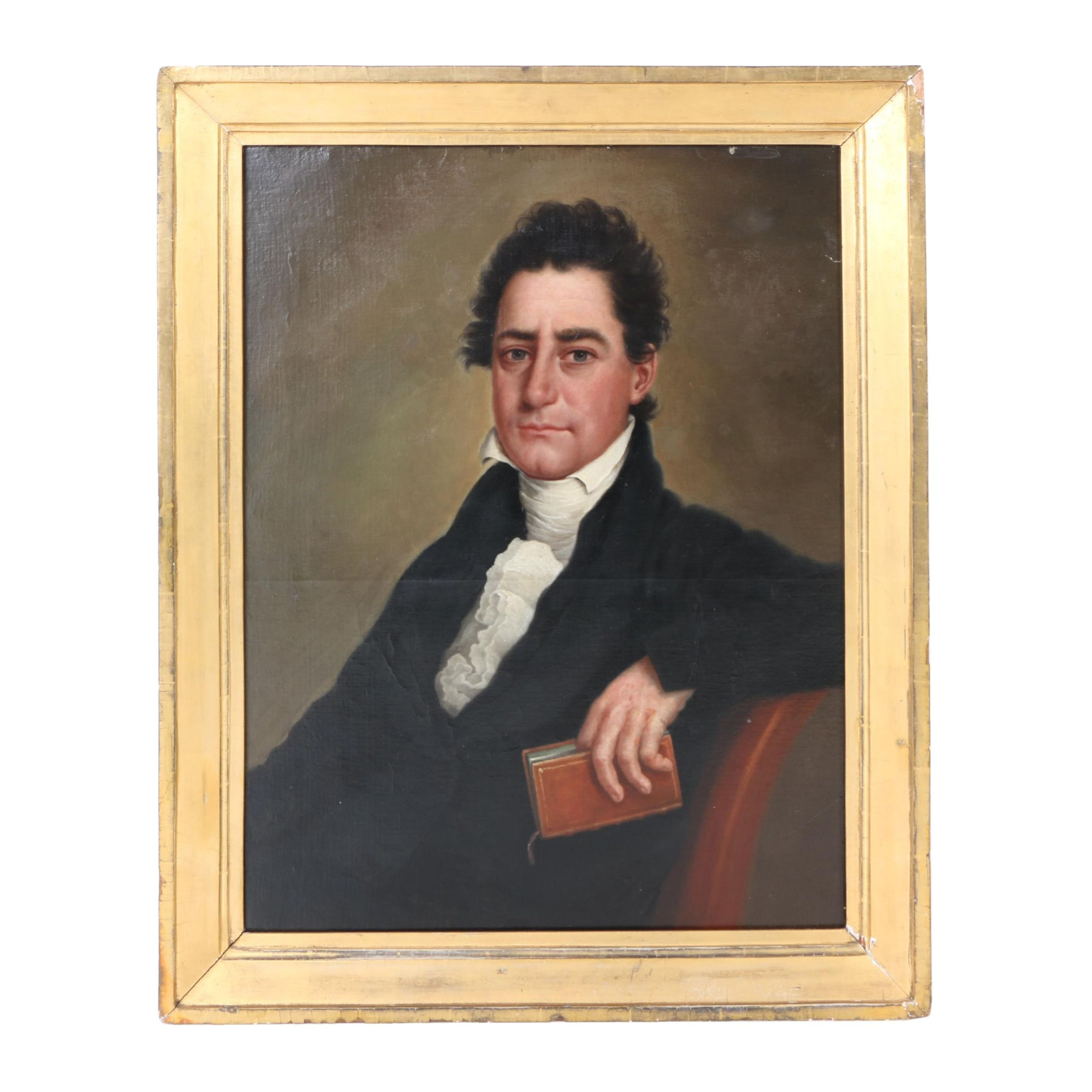 Antique Oil Portrait Painting on Canvas of Thomas D. Anderson