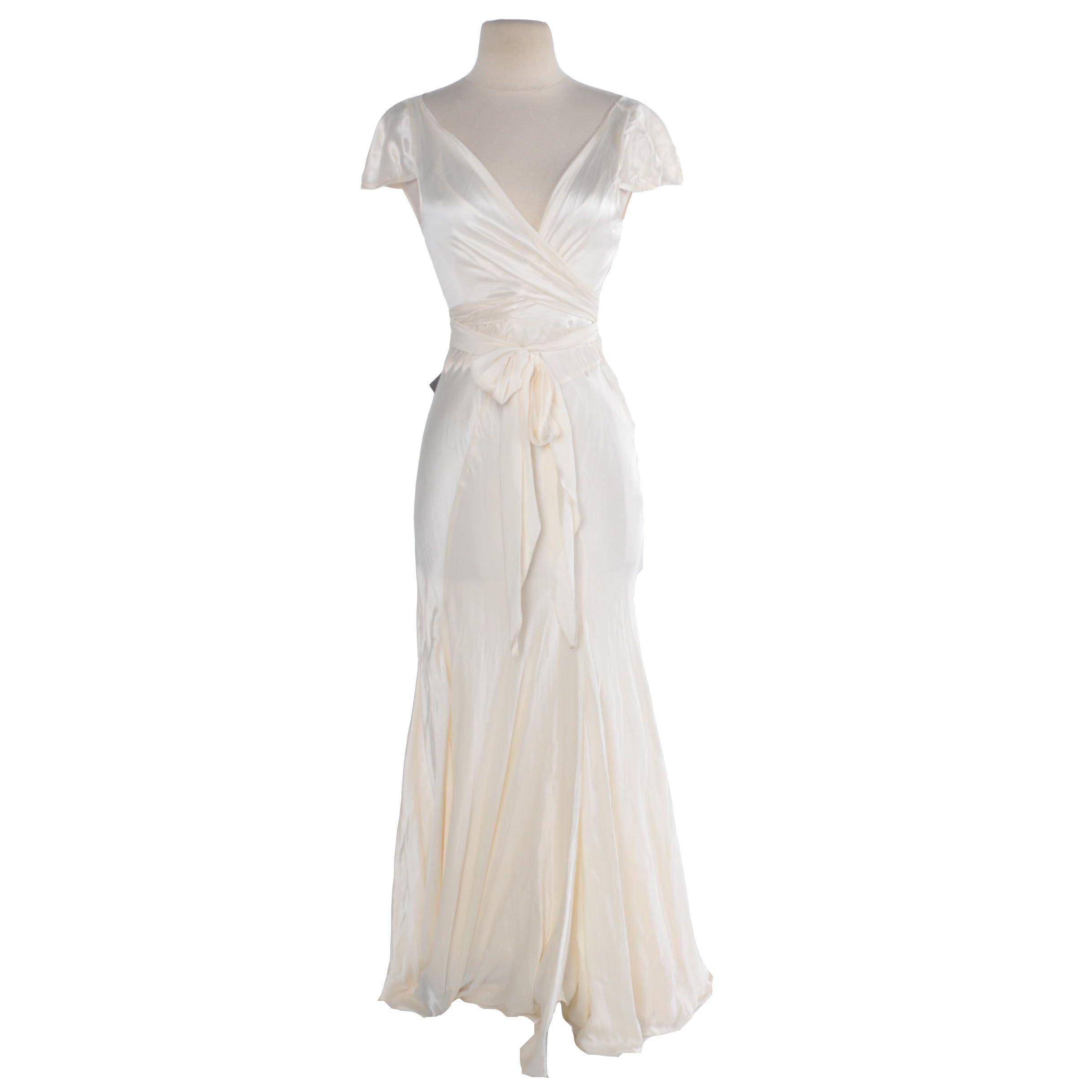 Ainos Ivory Silk Dress with Slip