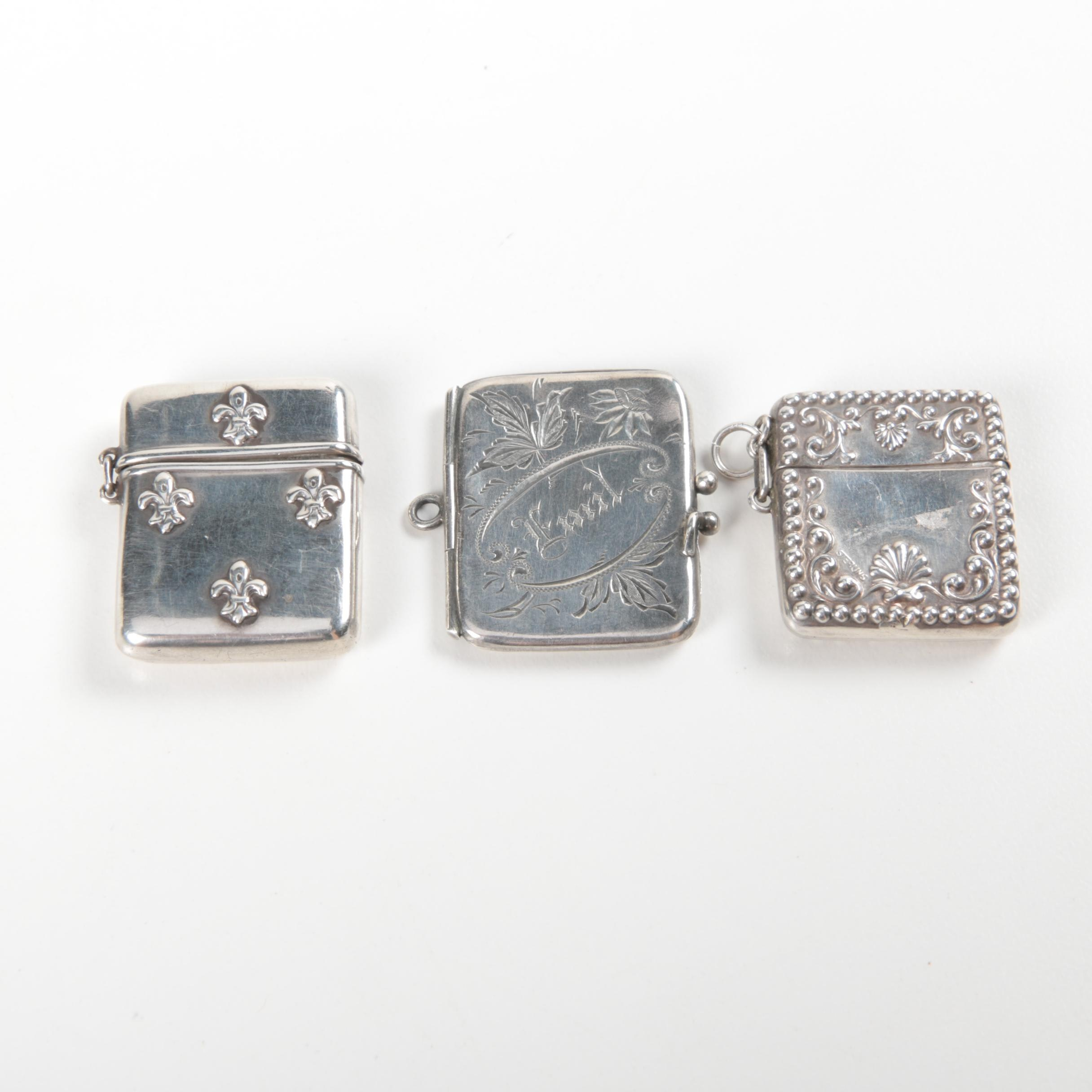 Antique Sterling Silver Vesta Cases