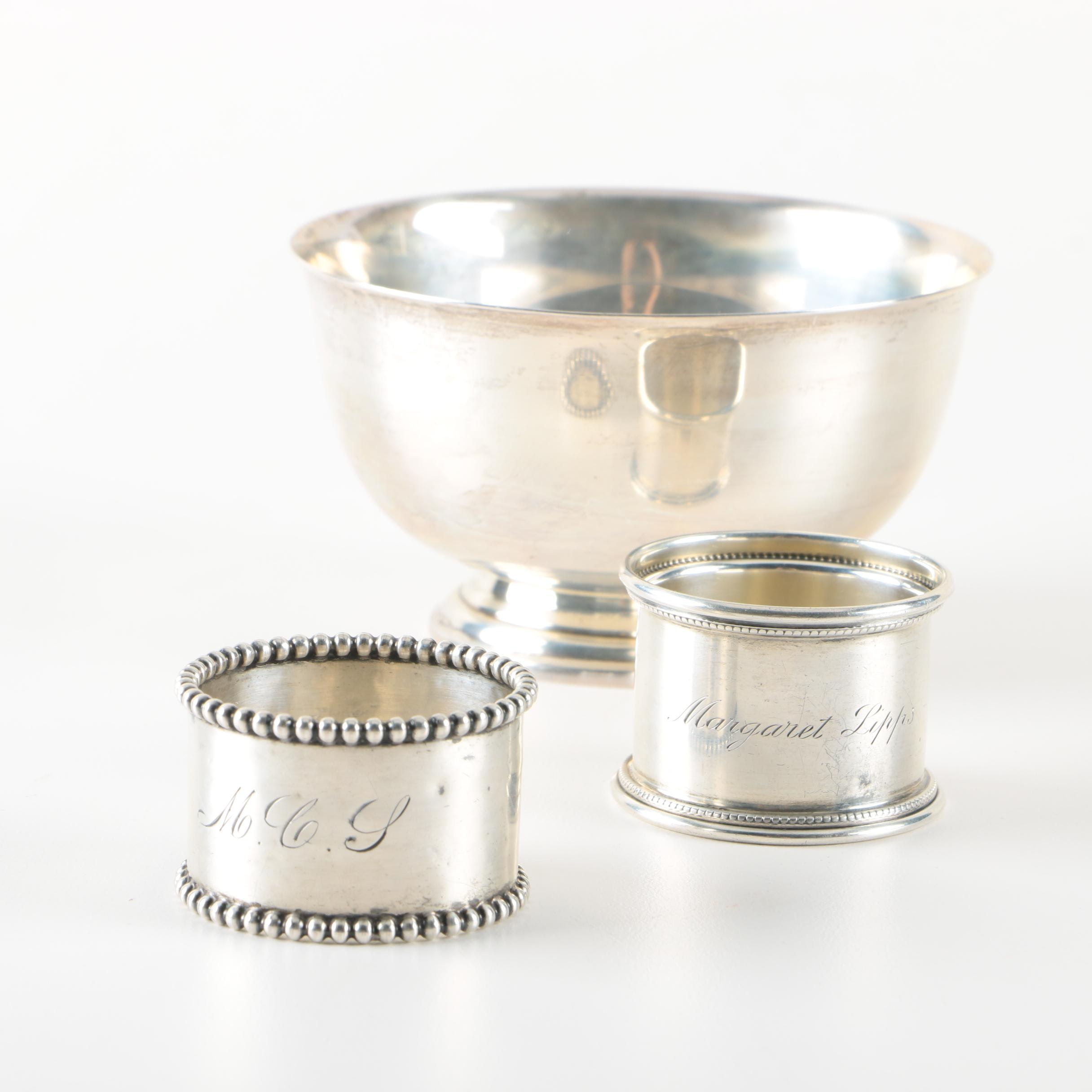 International Silver Co. Sterling Paul Revere Bowl with Napkin Rings