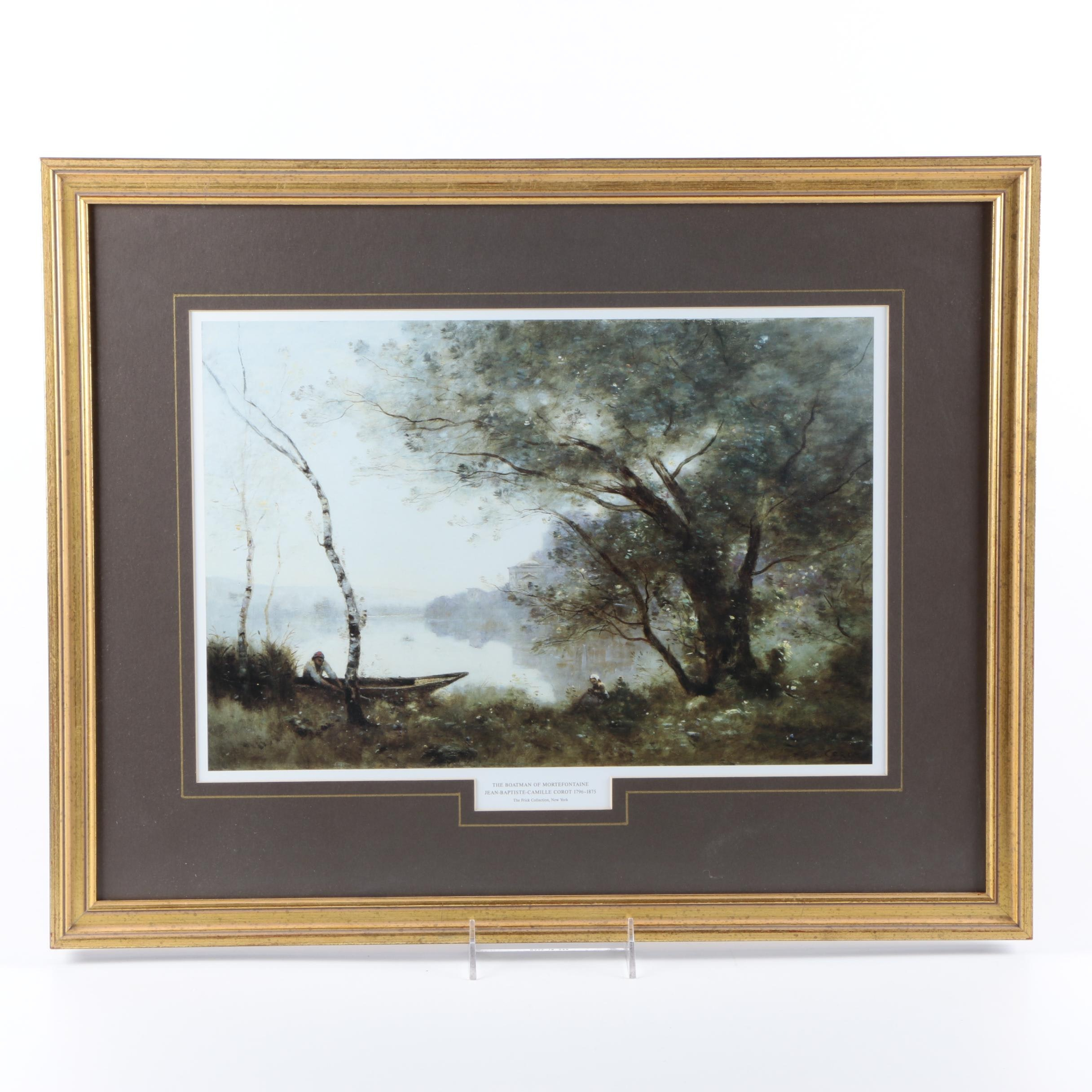 """Offset Lithograph After Corot's """"The Boatman of Mortefontaine"""""""