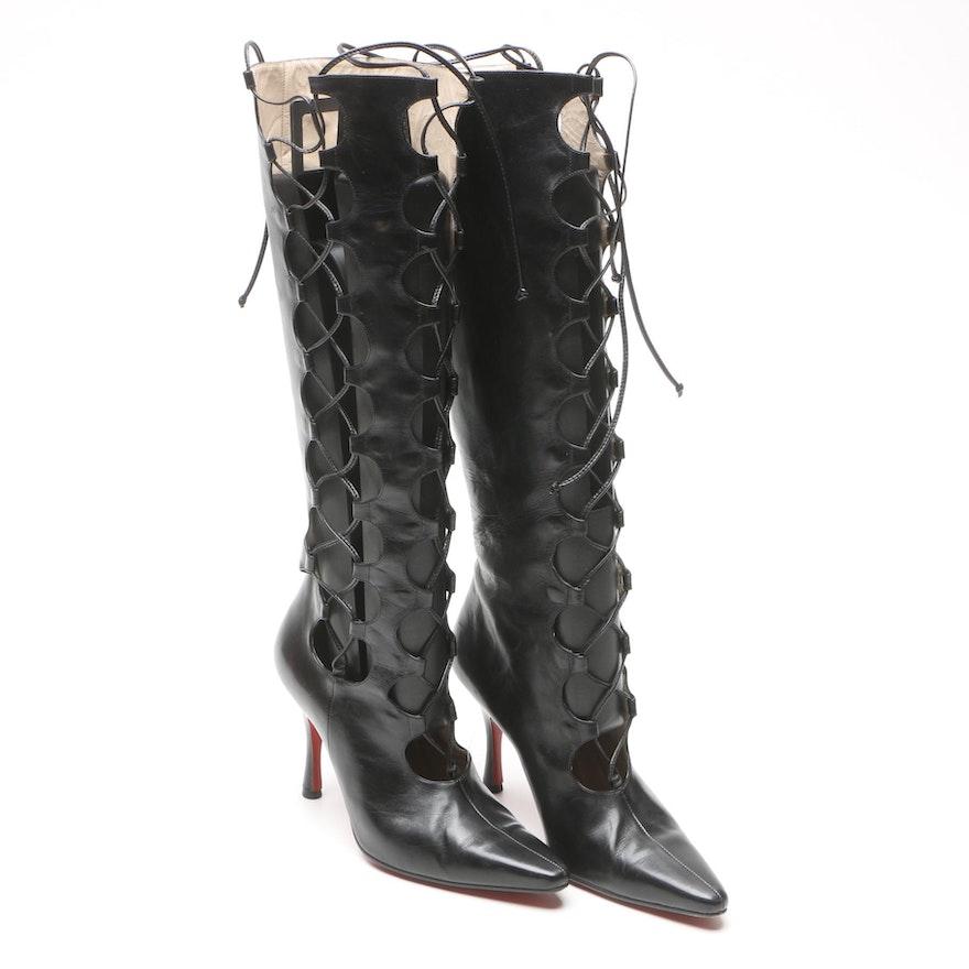 watch dec79 ae8c9 Vintage Christian Louboutin La Goulue Lace-Up Boots